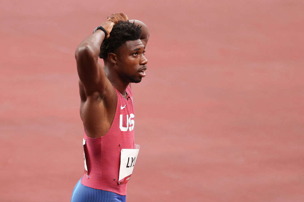 Noah Lyles of Team USA following the Men's 200-m Final at the Tokyo 2020 Olympic Games at Olympic Stadium on Aug. 4, 2021 in Tokyo, Japan.