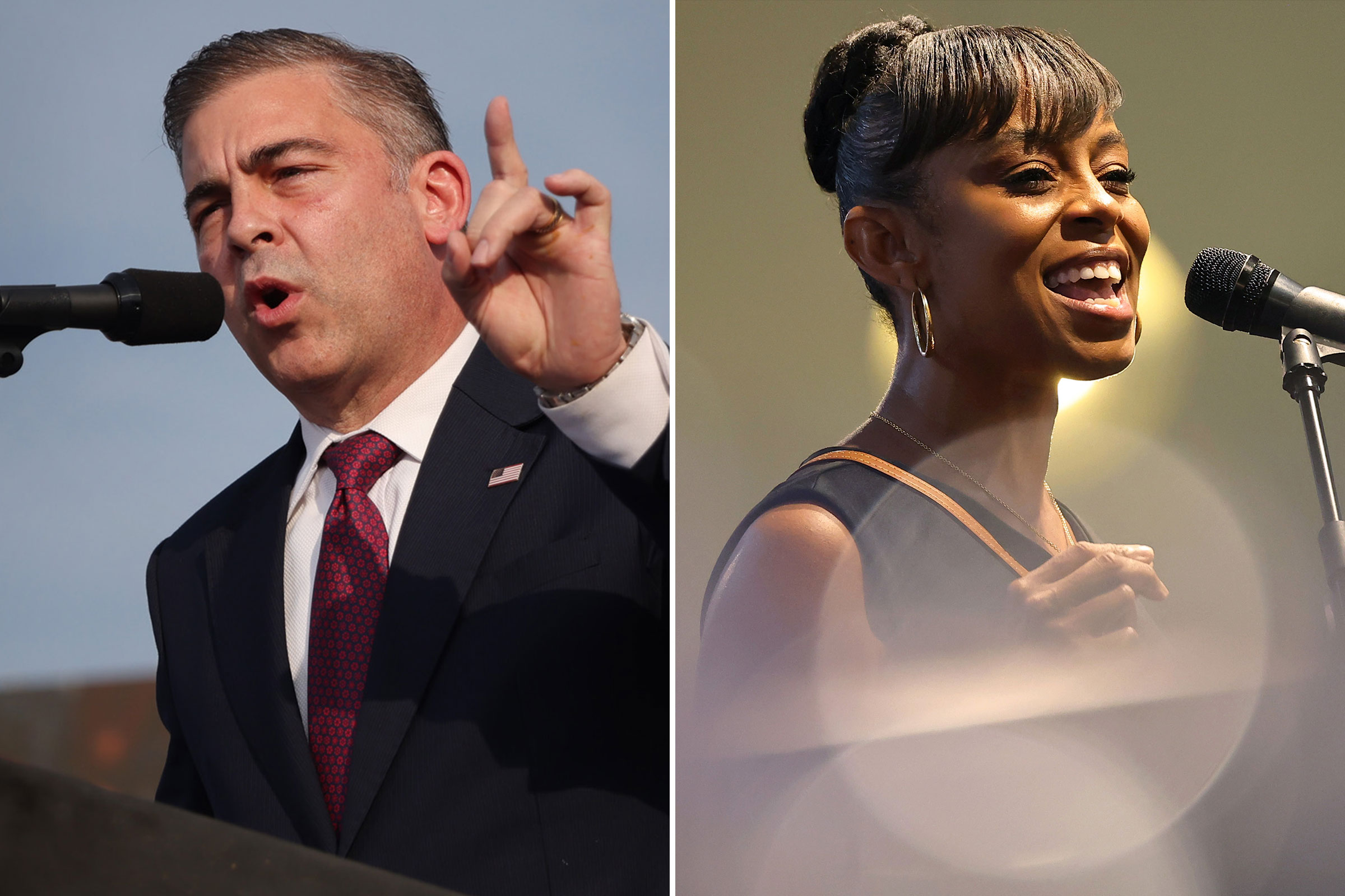 Mike Carey speaks at a rally hosted by former President Donald Trump after receiving his endorsement on June 26, 2021 in Wellington, Ohio; Shontel Brown speaks during a Souls to the Polls rally at Sanctuary Baptist Church on Aug. 1, 2021 in Cleveland, Ohio