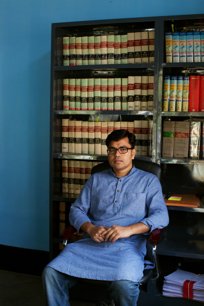 Aman Wadud, a human-rights lawyer who provides pro-bono legal aid to people fighting citizenship cases in his office in Guwahati, Assam.
