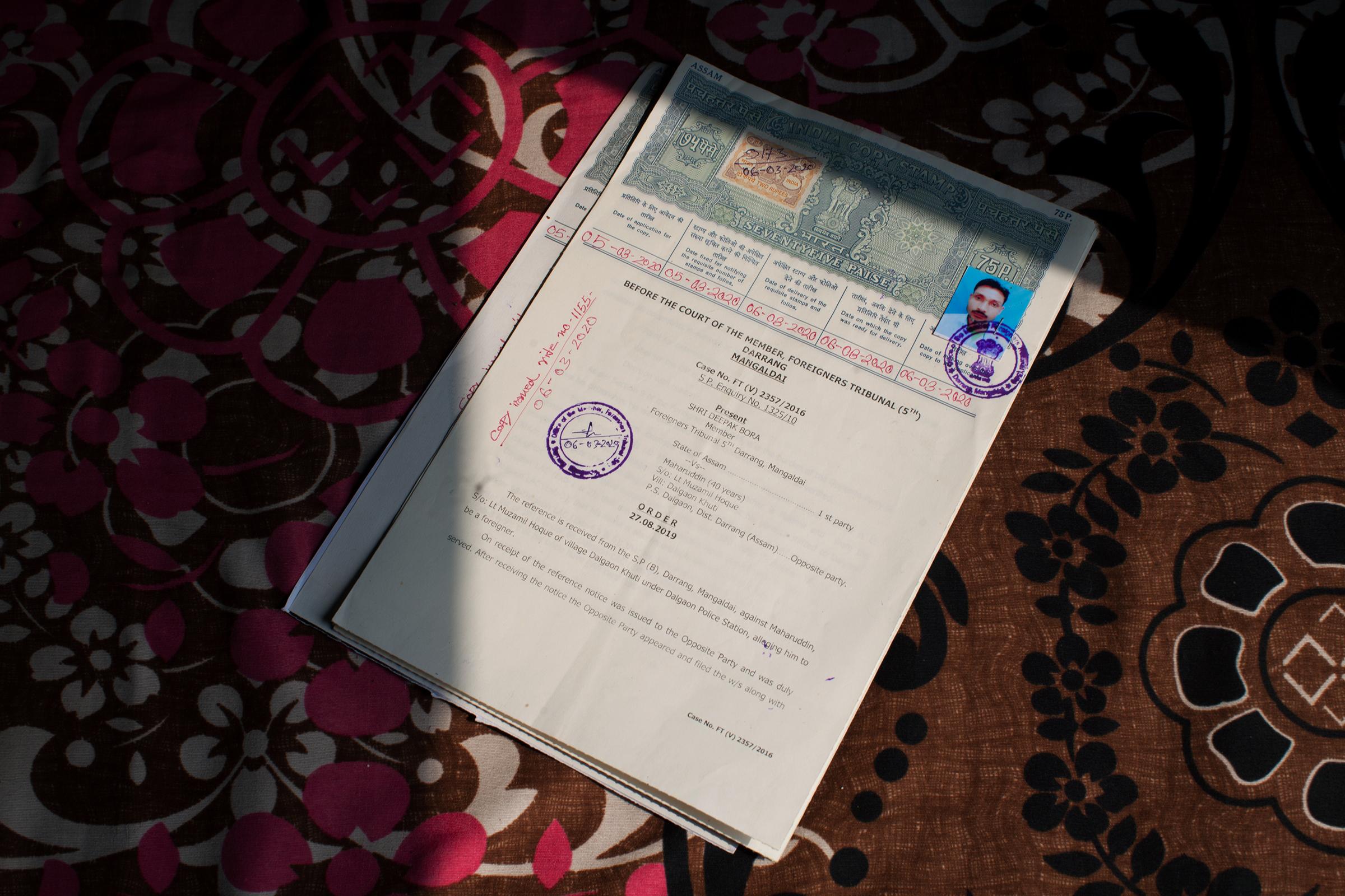 An order from a foreigners tribunal, a quasi-judicial body unique to Assam, declaring Mamtaj Begum's husband Mahuruddin a foreigner