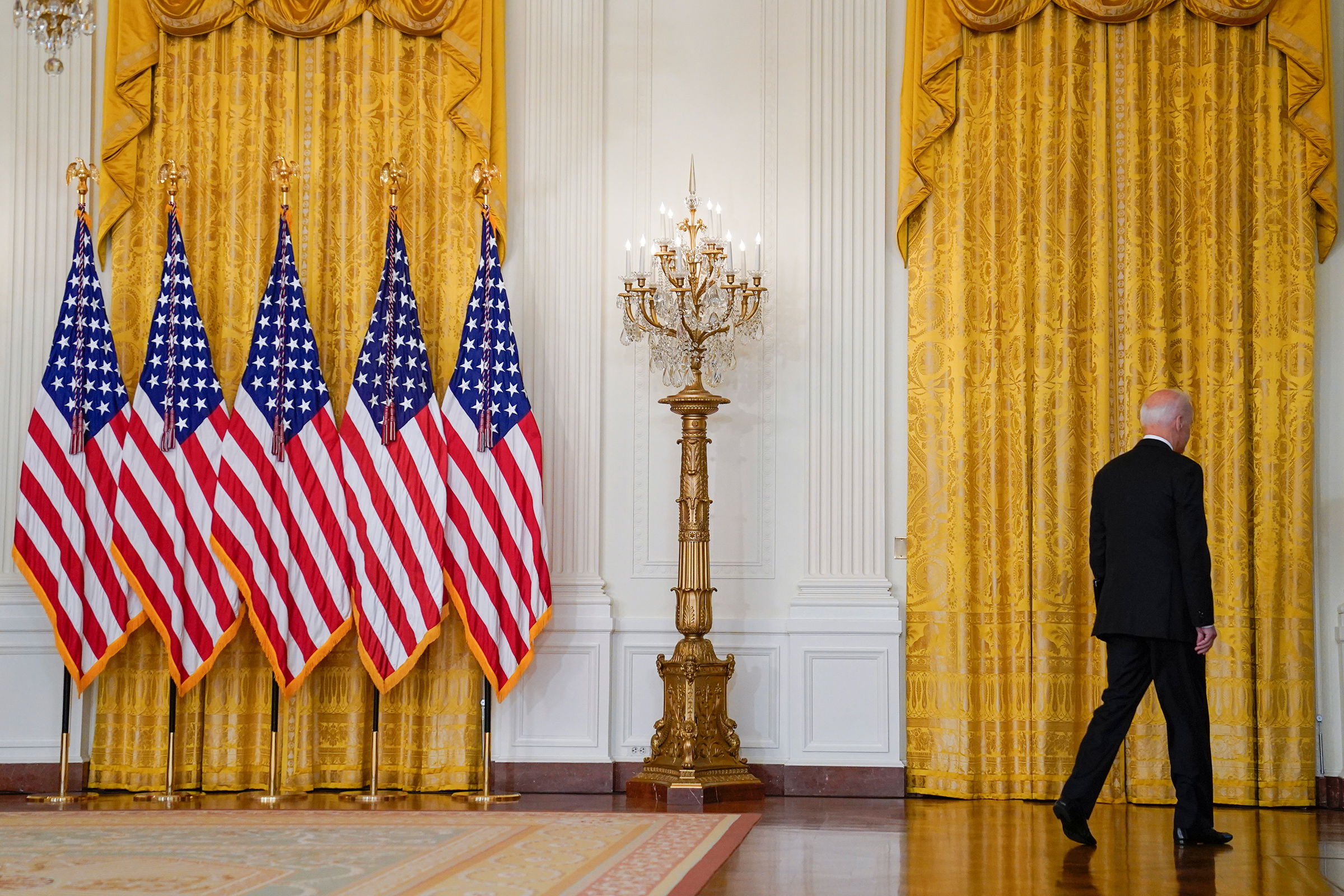 President Biden leaves the podium after his Aug. 16 remarks.