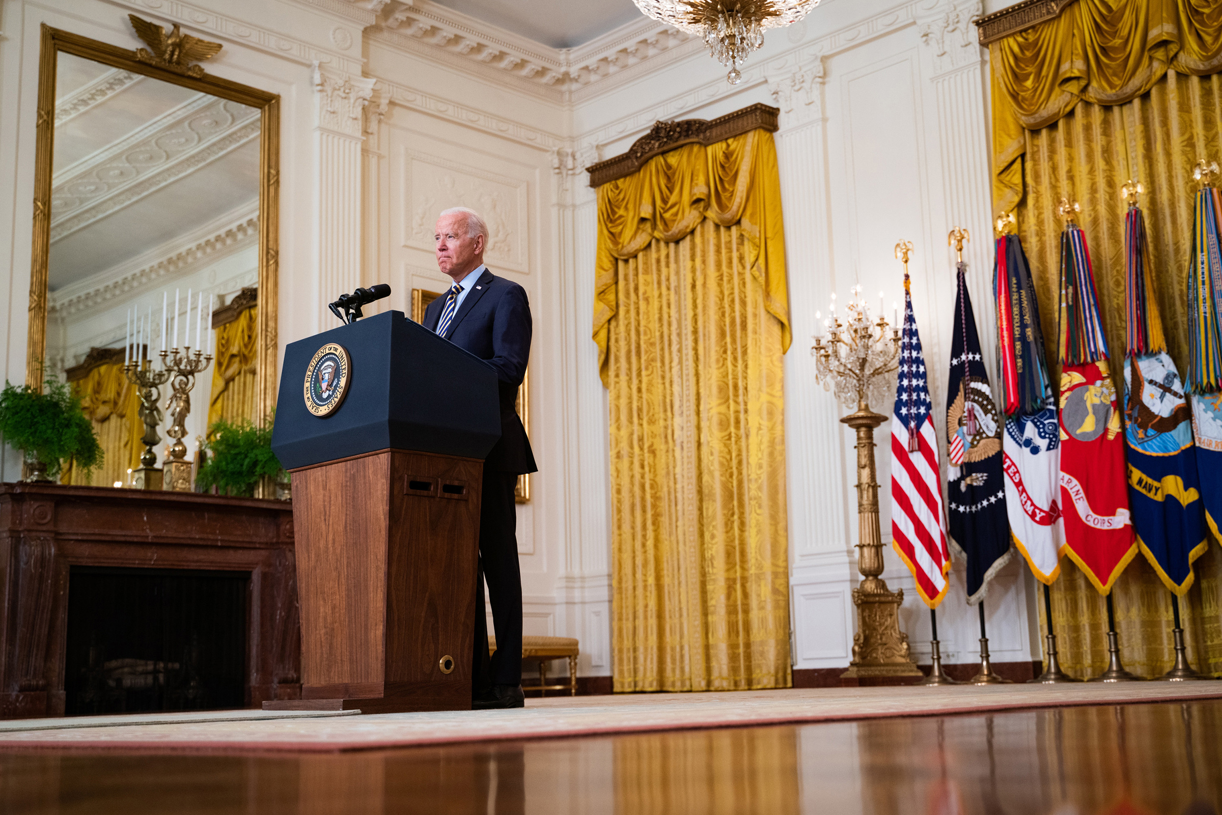 President Biden delivers remarks about the U.S. withdrawal from Afghanistan at the White House in Washington, D.C., on July 8, 2021.