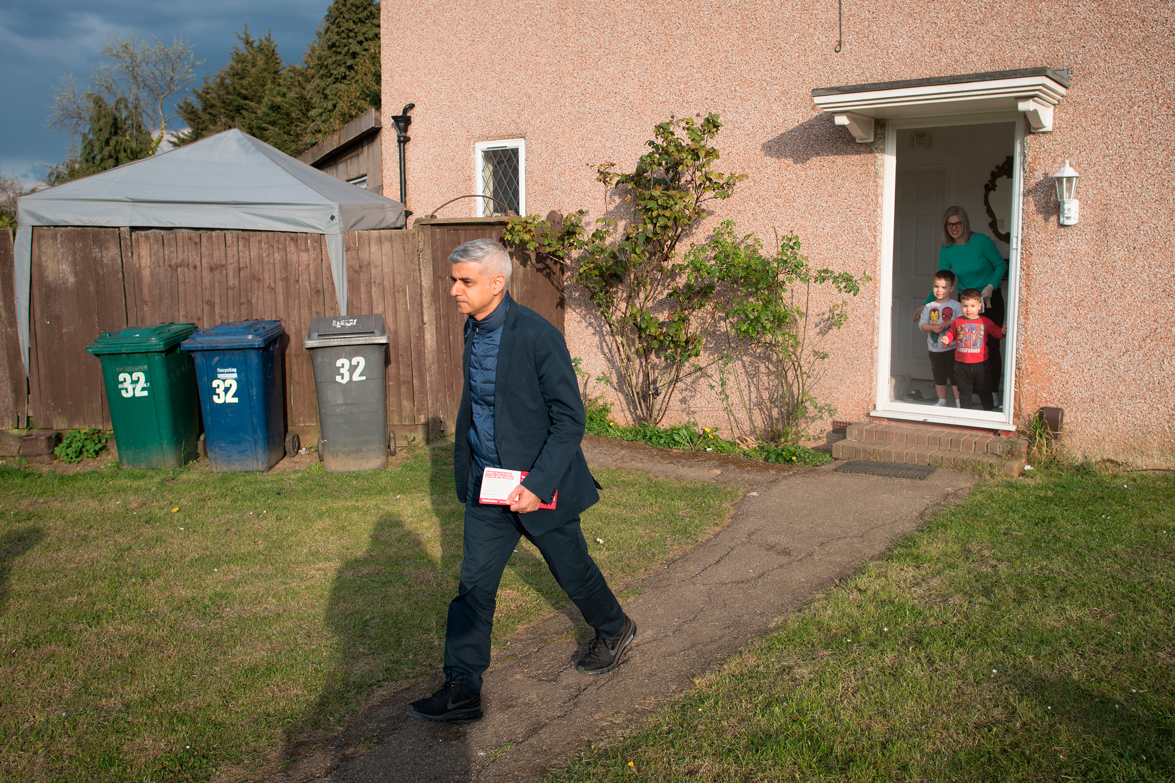 Khan canvasses door-to-door in Barnet, North London, on April 30