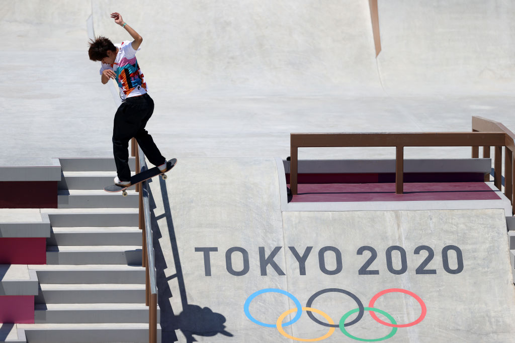 Yuto Horigome of Team Japan competes in the Skateboarding Men's Street Finalsat the Tokyo 2020 Olympic Games at Ariake Urban Sports Park on July 25, 2021 in Tokyo, Japan.
