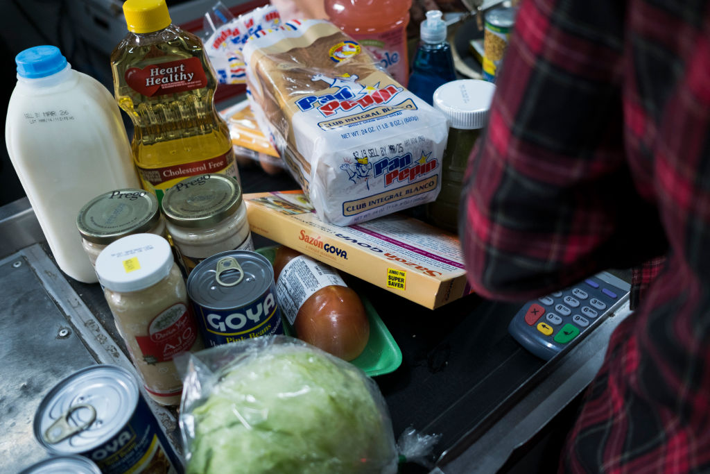 Food Stamps beneficiaries do their groceries shopping at Agranel Supermarket in Bayamon.
