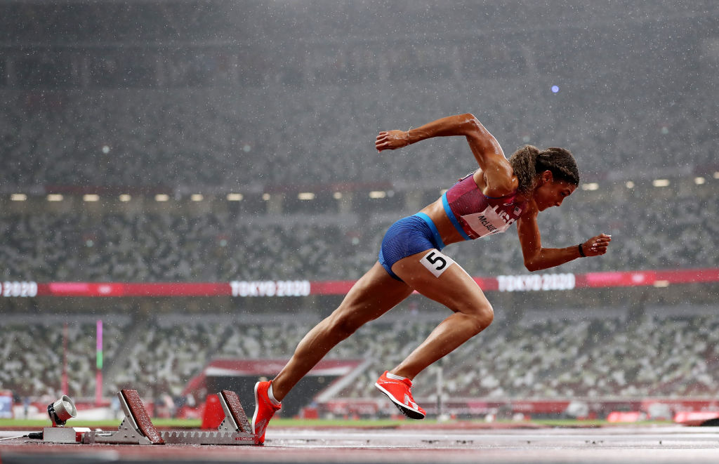 Sydney McLaughlin of Team United States competes in the Women's 400-m hurdles semifinals on day 10 of the Tokyo 2020 Olympic Games at Olympic Stadium on Aug. 02, 2021, in Tokyo, Japan.