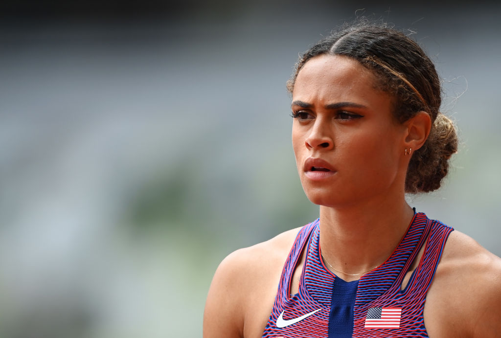 Sydney McLaughlin of Team USA prepares to compete in round one of the Women's 400-m hurdles heats on day eight of the Tokyo 2020 Olympic Games at Olympic Stadium on July 31, 2021 in Tokyo, Japan.