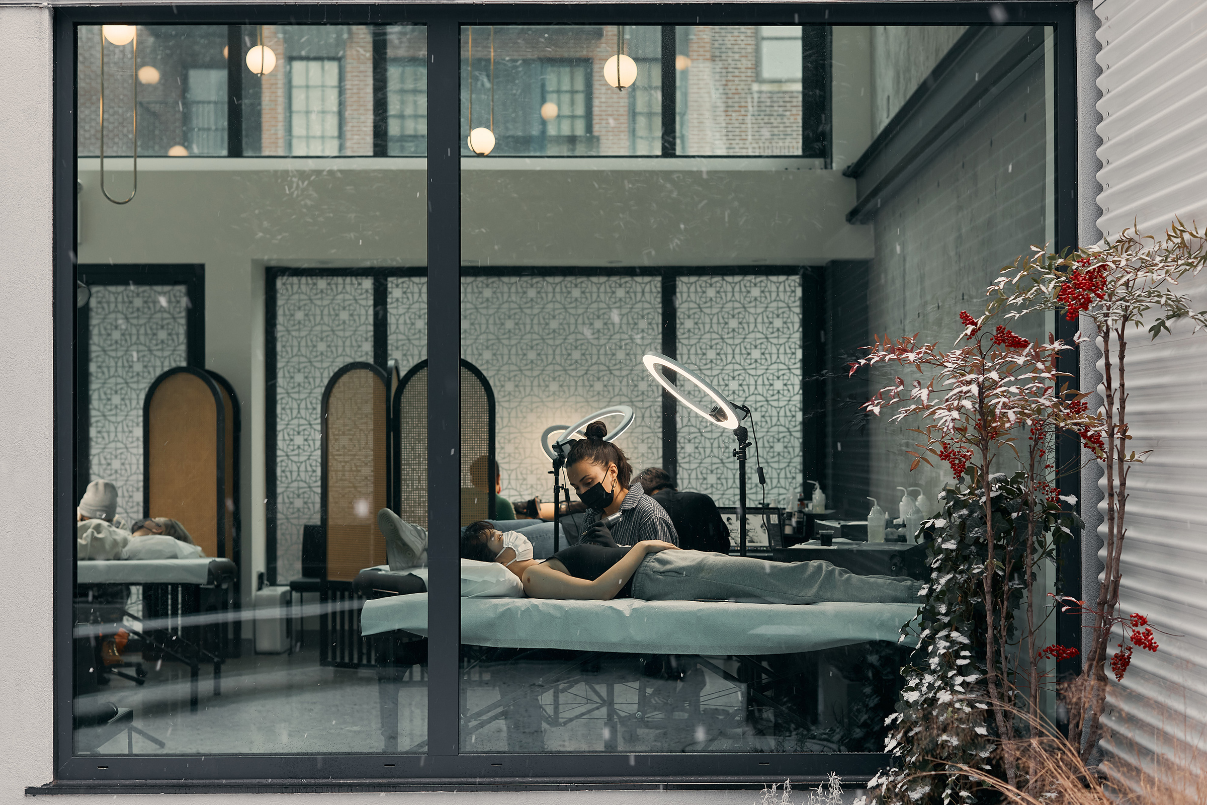 Atelier Eva, a tattoo studio in Brooklyn. Co-founders Peter Jenkins and Eva Karabudak say clients have been leaning into the zen aspects of the tattoo process during the pandemic.