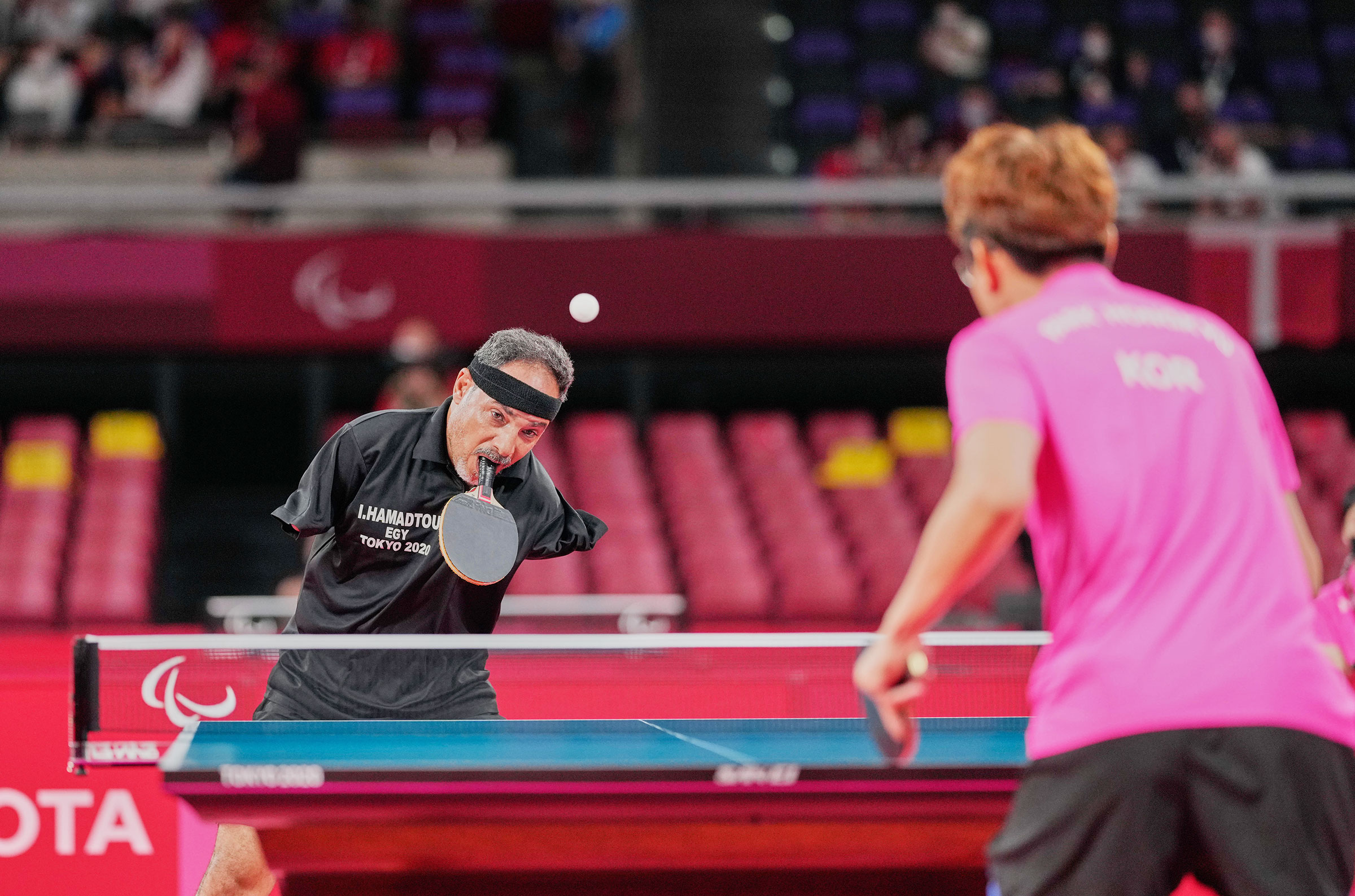 Ibrahim Elhusseiny Hamadtou during table tennis event at the Tokyo Paralympics in Japan on August 25, 2021.