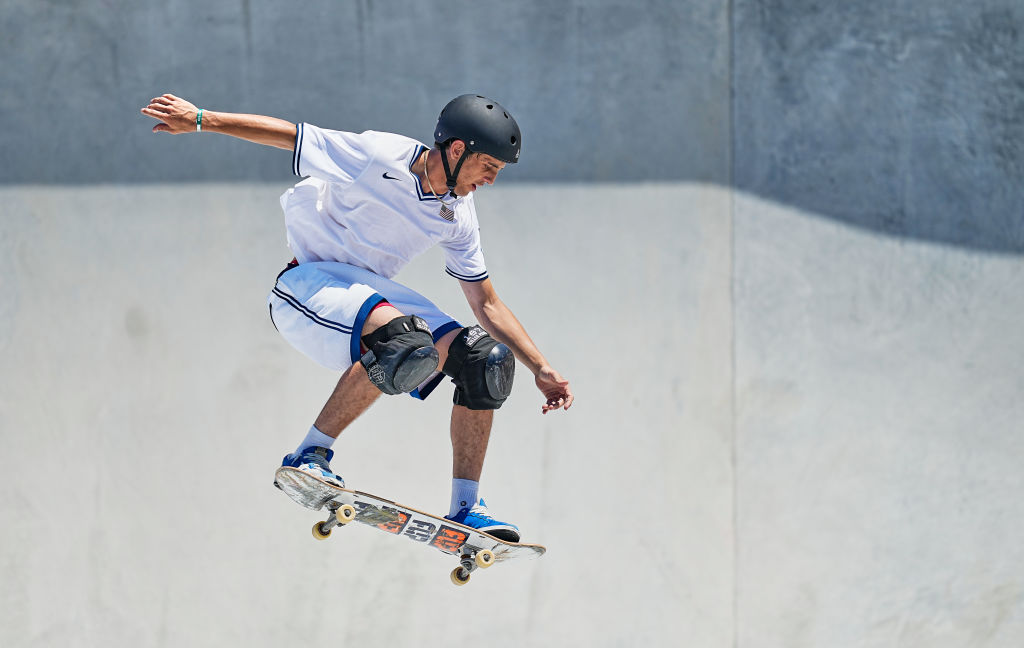 Cory Juneau of Team USA competes in men's park skateboarding at the Olympics at Ariake Urban Park, Tokyo, Japan on Aug. 5, 2021. Juneau won bronze.