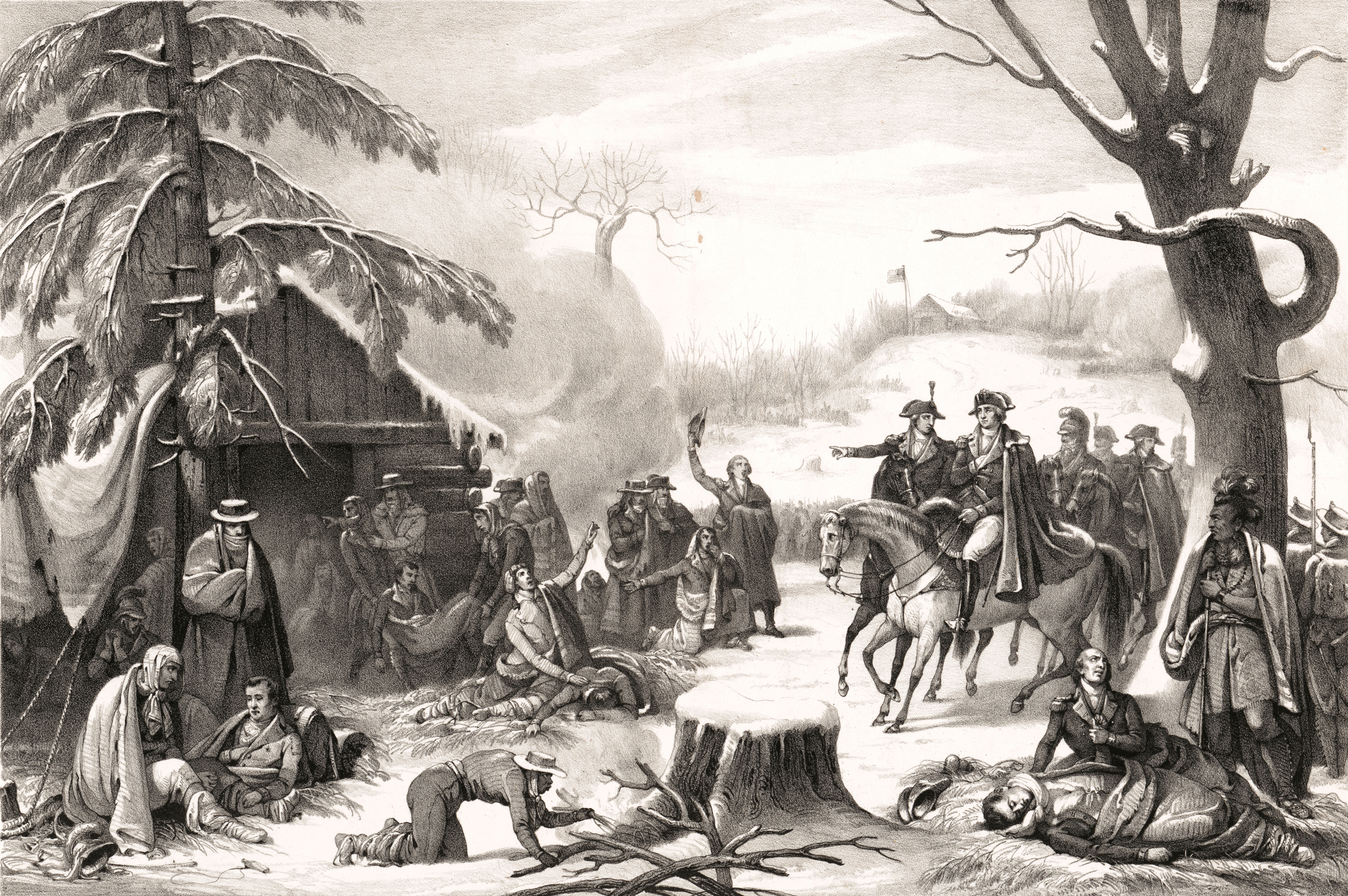 George Washington and Lafayette on horseback visiting injured soldiers at Valley Forge during the American Revolution, 1777.