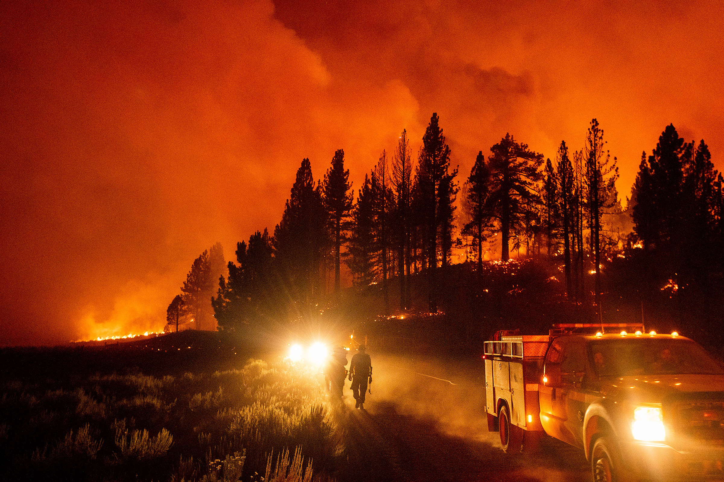 Firefighters battle the Sugar Fire, part of the Beckwourth Complex Fire, burning in Plumas National Forest, Calif., on July 8.