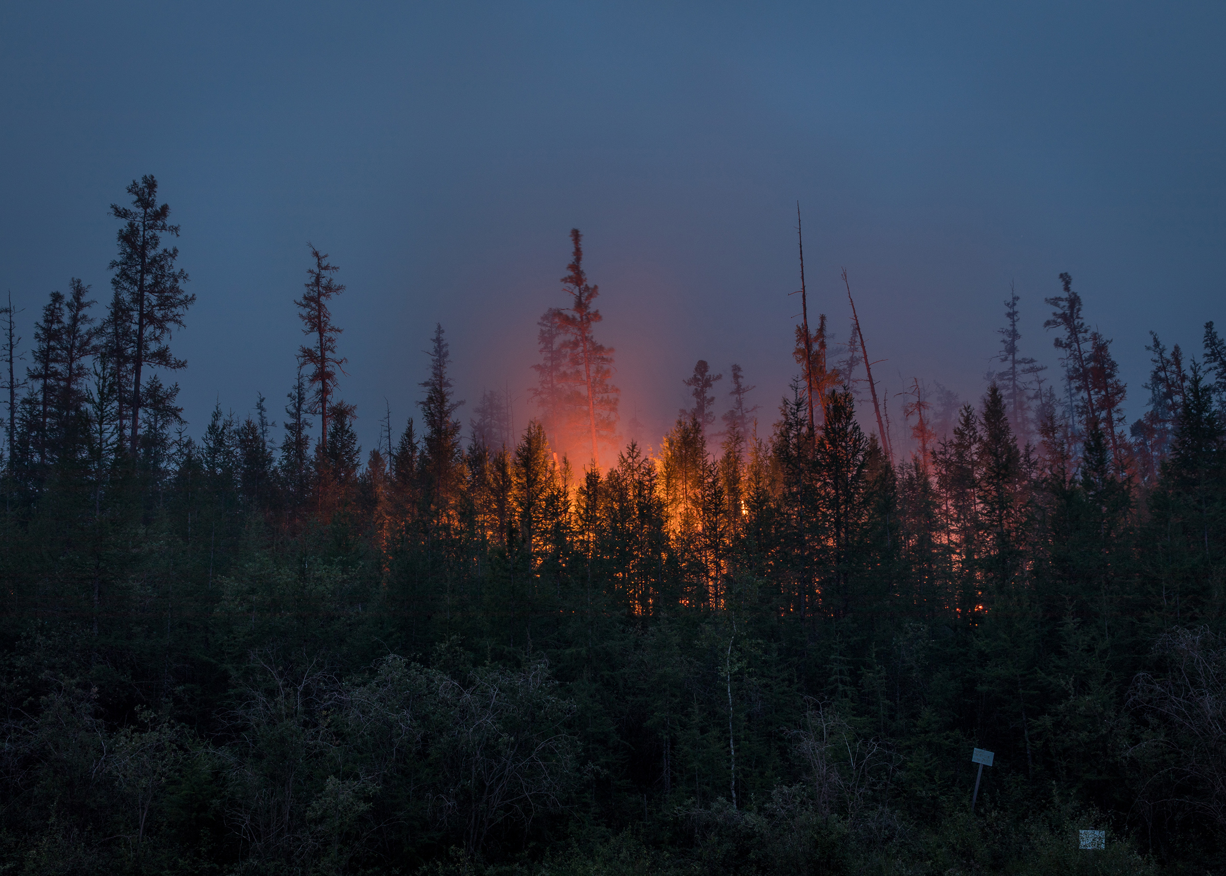 A forest fire along the Viluy highway between Yakutsk, the capital of Yakutia, and Berdigestyakh on July 16.