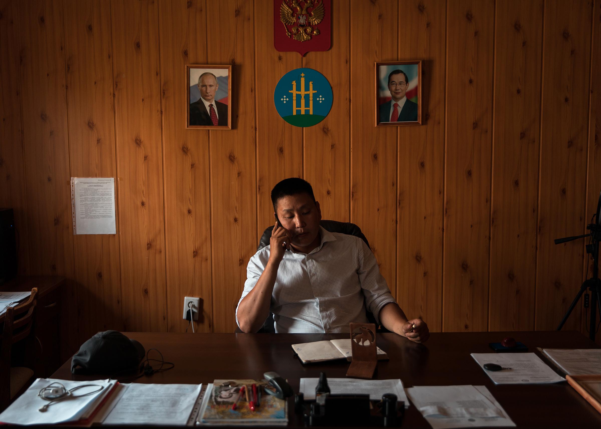 The mayor of Magaras, Vladimir Tekeyanov, in his office.