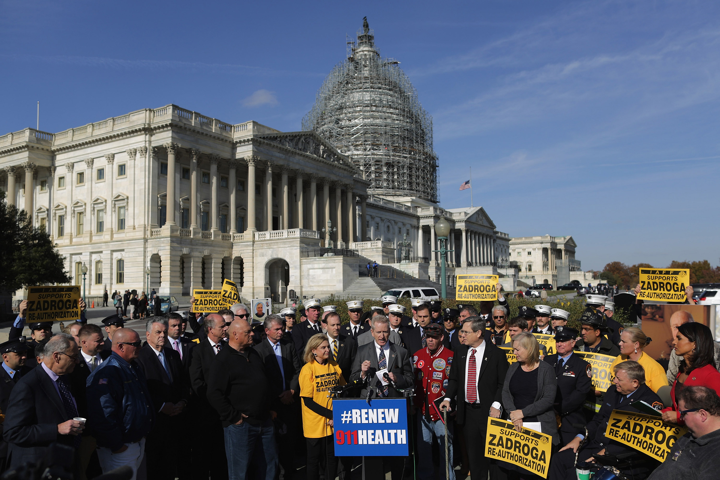 Senate and House Democrats hold a news conference with first responders from New York and members of the Iraq and Afghanistan Veterans of America to announce their support for the permanent reauthorization of the James Zadroga 9/11 Health and Compensation Reauthorization Act outside the U.S. Capitol in Washington, D.C., on Nov. 17, 2015.