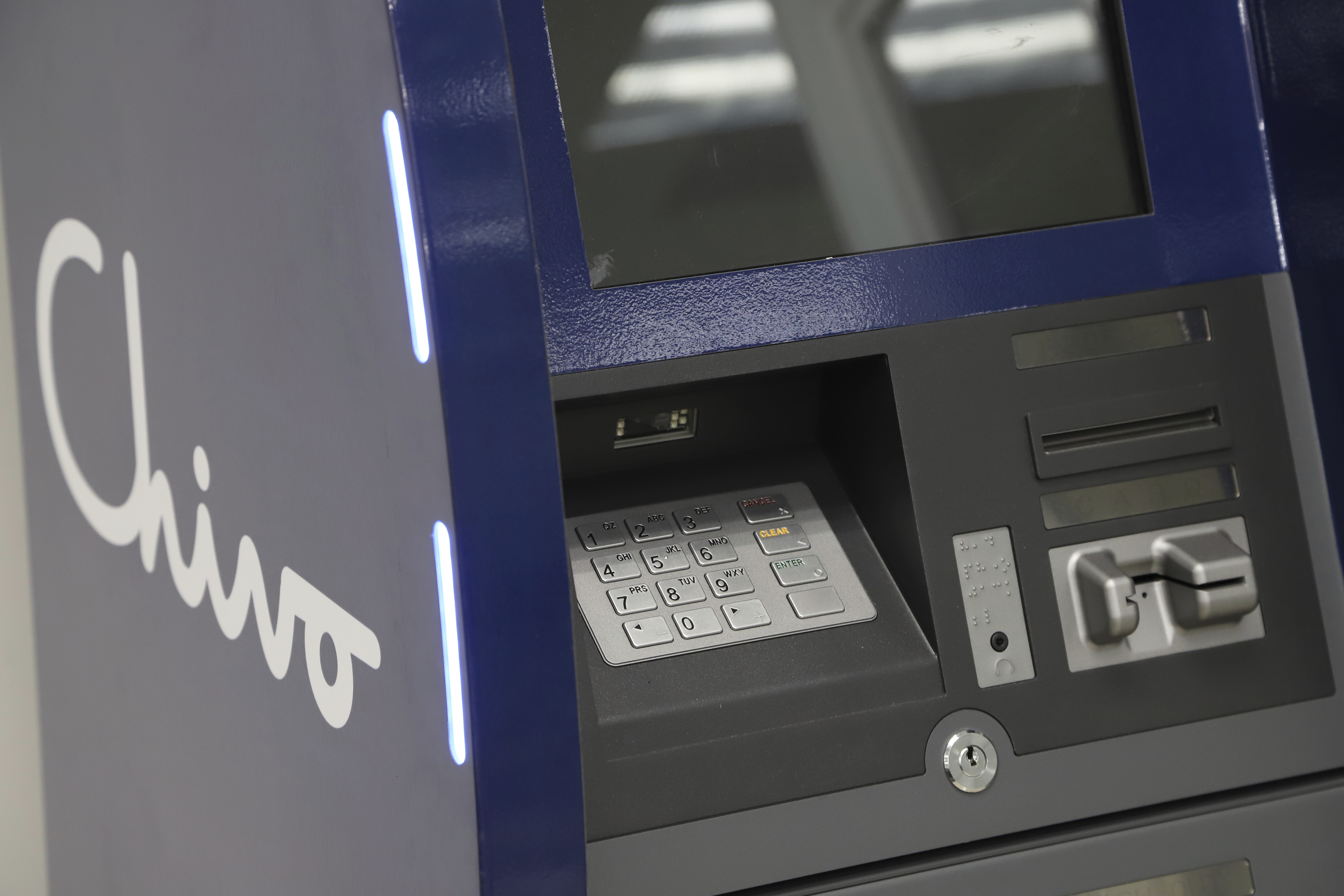 A government-run Chivo machine that will  exchange cash for Bitcoin cryptocurrency stands in a booth of the state-owned Banco Hipotecario, in San Salvador, El Salvador, Wednesday, Sept. 1, 2021.