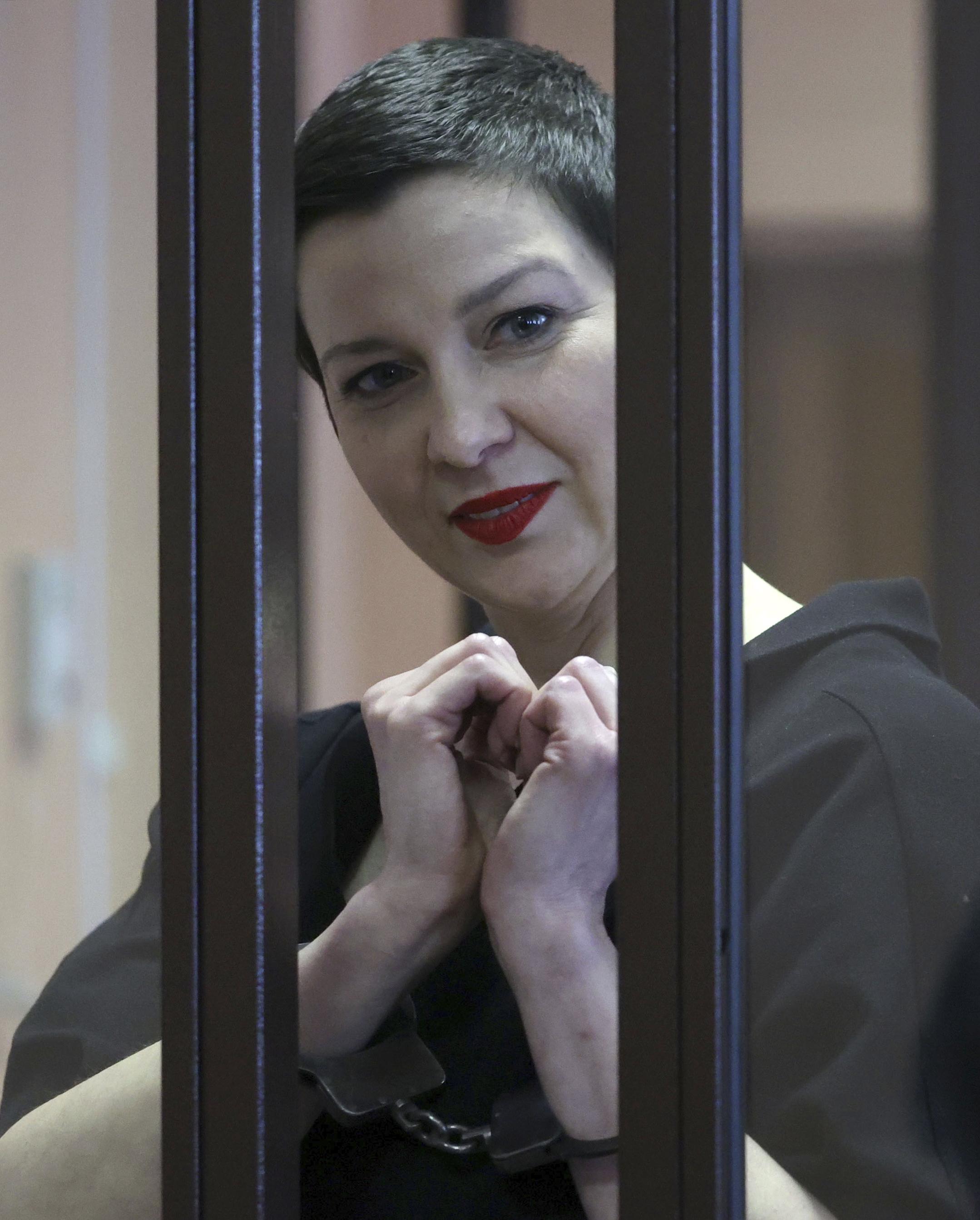 Belarus opposition activist Maria Kolesnikova seen during a court hearing in Minsk, Belarus, Monday, Sept. 6, 2021.