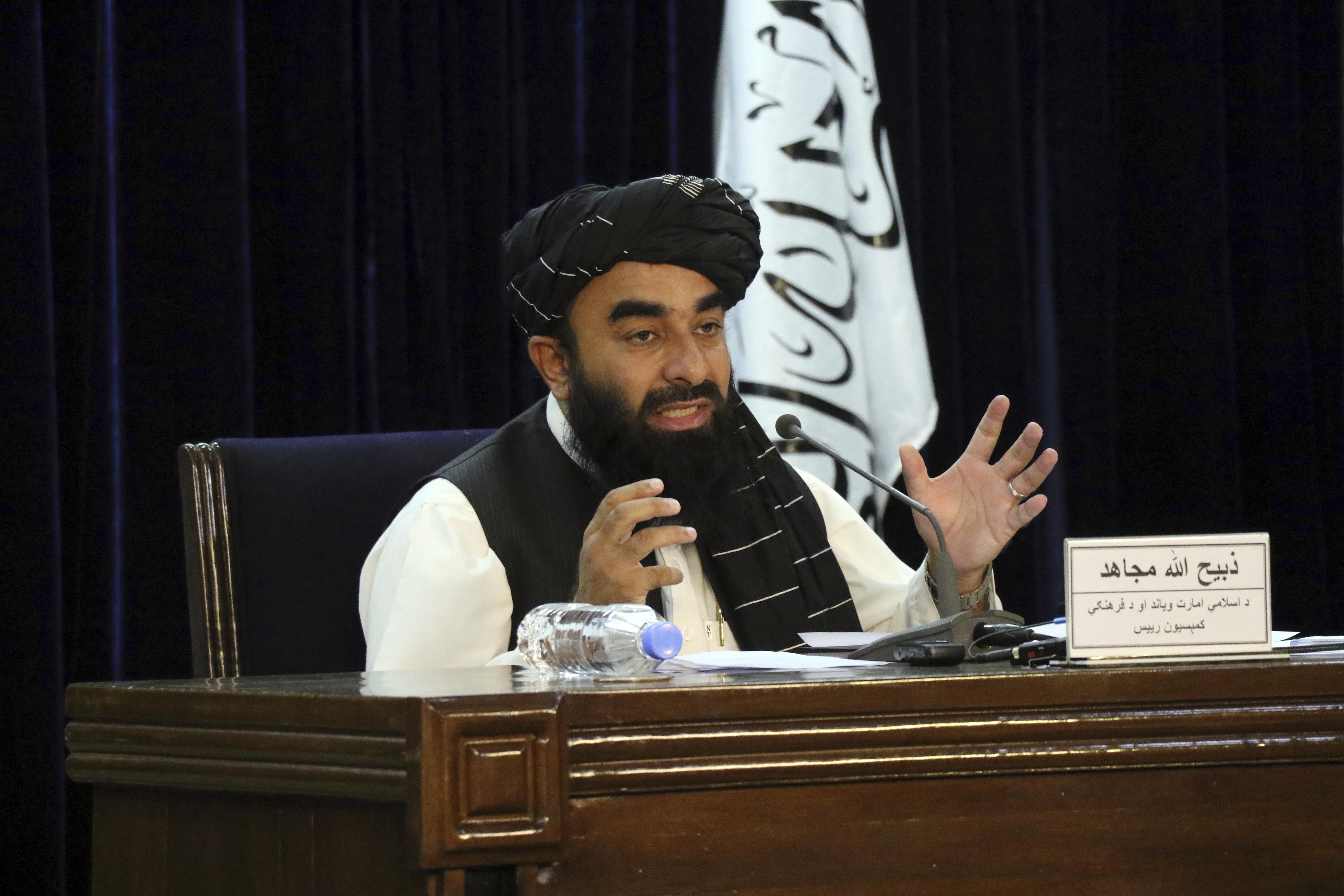 Taliban spokesman Zabihullah Mujahid seen at a press conference in Kabul, Afghanistan Tuesday, Sept. 7, 2021.