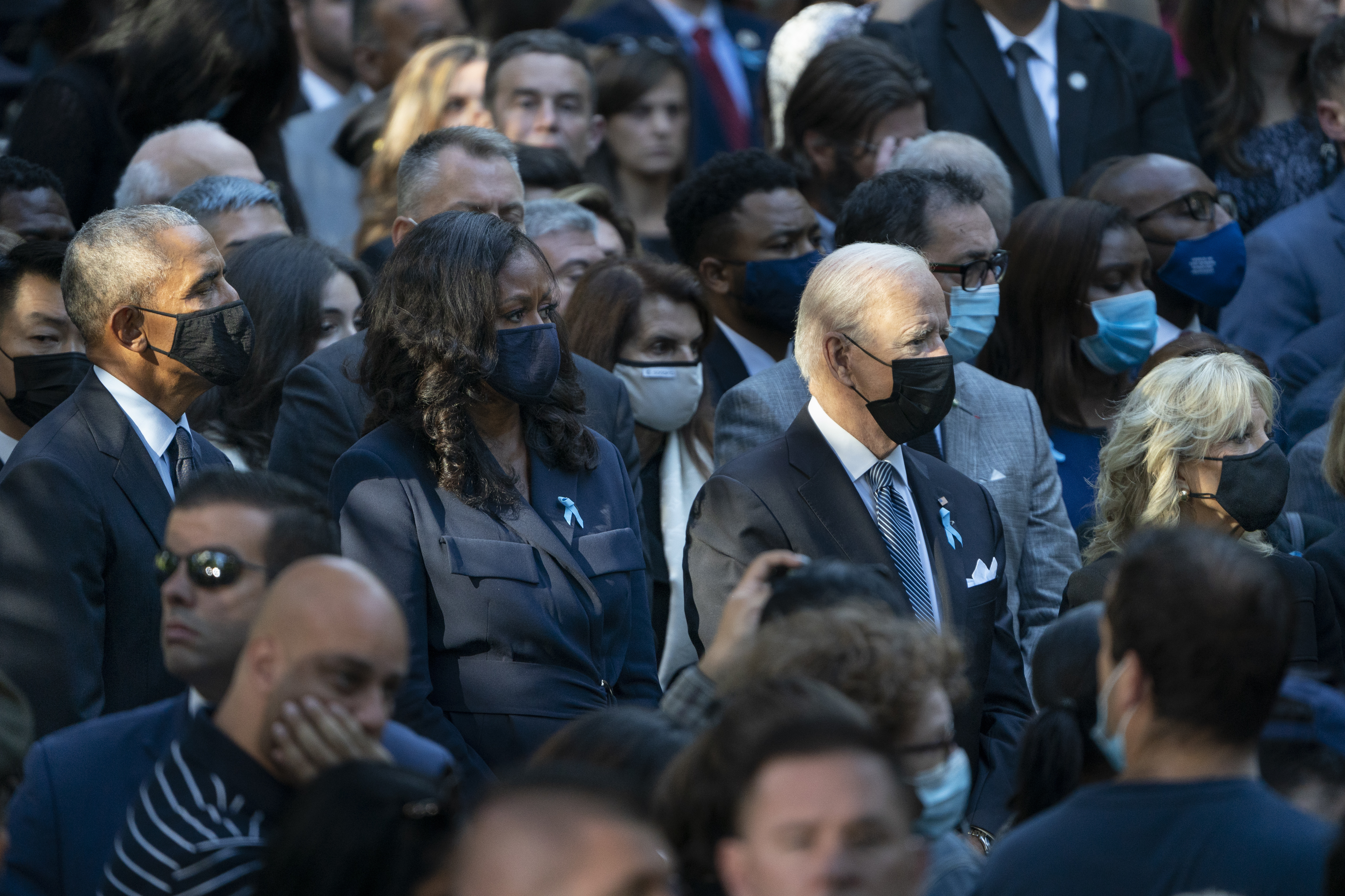 Former President Barack Obama, former First Lady Michelle Obama, President Joe Biden, and First Lady Dr. Jill Biden, attend ceremonies to commemorate the 20th anniversary of the Sept. 11 terrorist attacks, on Sept. 11, 2021, at the National September 11 Memorial Museum in New York.
