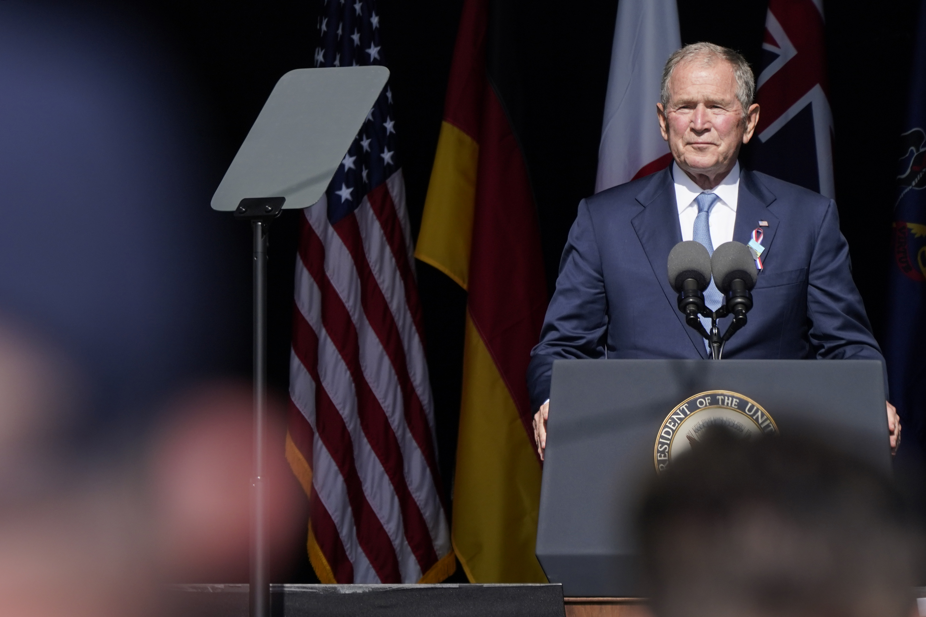 Former President George W. Bush speaks during a memorial for the passengers and crew of United Flight 93, on Sept. 11, 2021, in Shanksville, Pa., on the 20th anniversary of the Sept. 11, 2001 attacks.