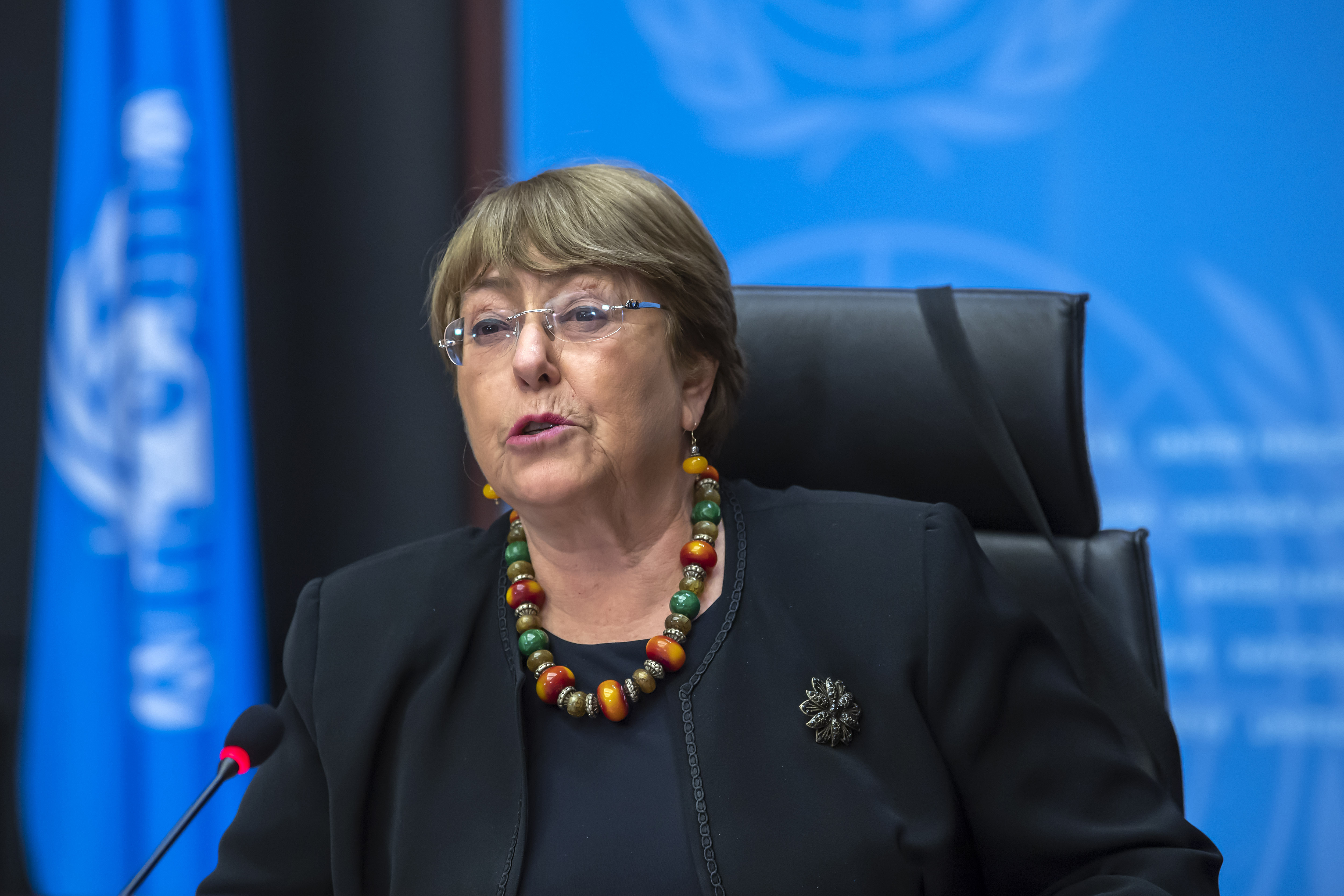 Michelle Bachelet, U.N. High Commissioner for Human Rights, speaks during a press conference at the European headquarters of the United Nations in Geneva, Switzerland, on Dec. 9, 2020.