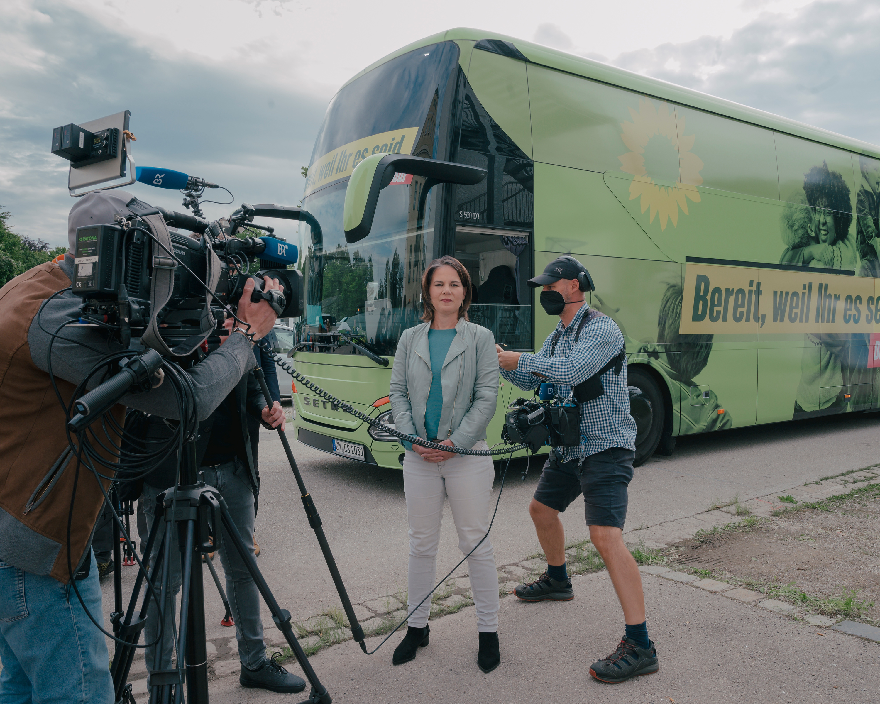 Annalena Baerbock of Alliance 90/The Greens (Bündniss 90/Die Grünen) gives interviews to German Media at a election campaign event in Dachau, Germany, on Aug. 17.