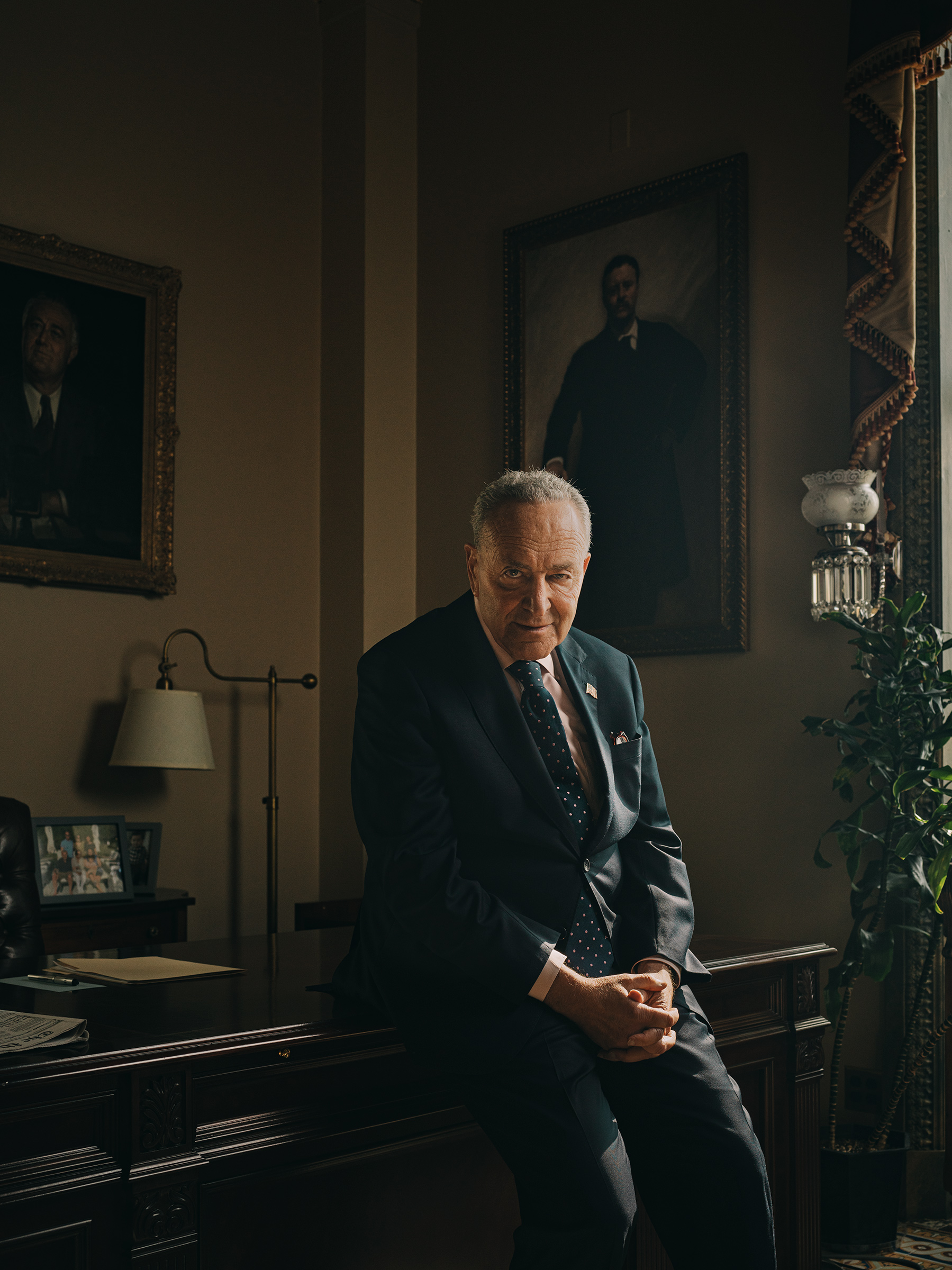 The Senate majority leader in his office at the U.S. Capitol on Aug. 4