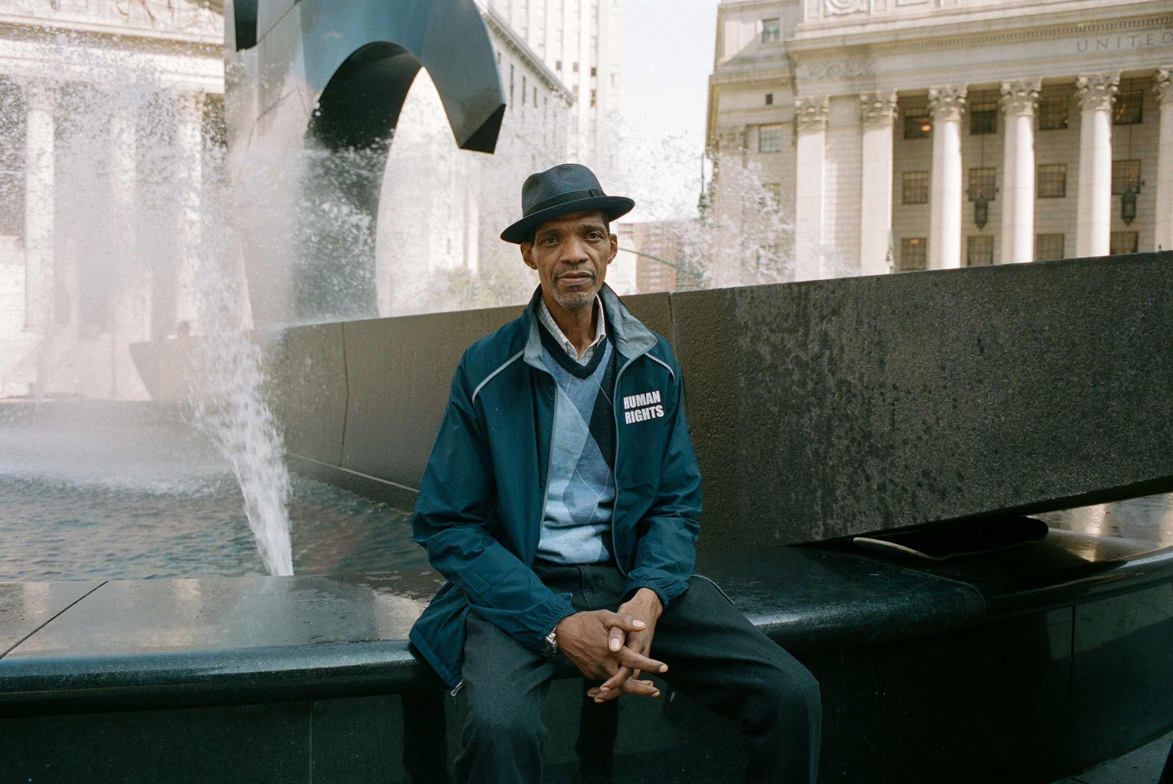 A human rights advocate at the Foley Square fountain, Aug. 27, 2021.