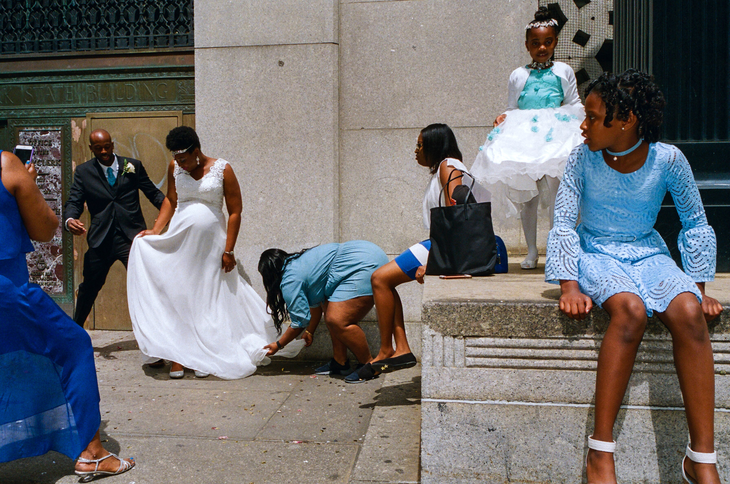 A wedding party outside the City Clerk's office on Worth Street, May 13, 2017.