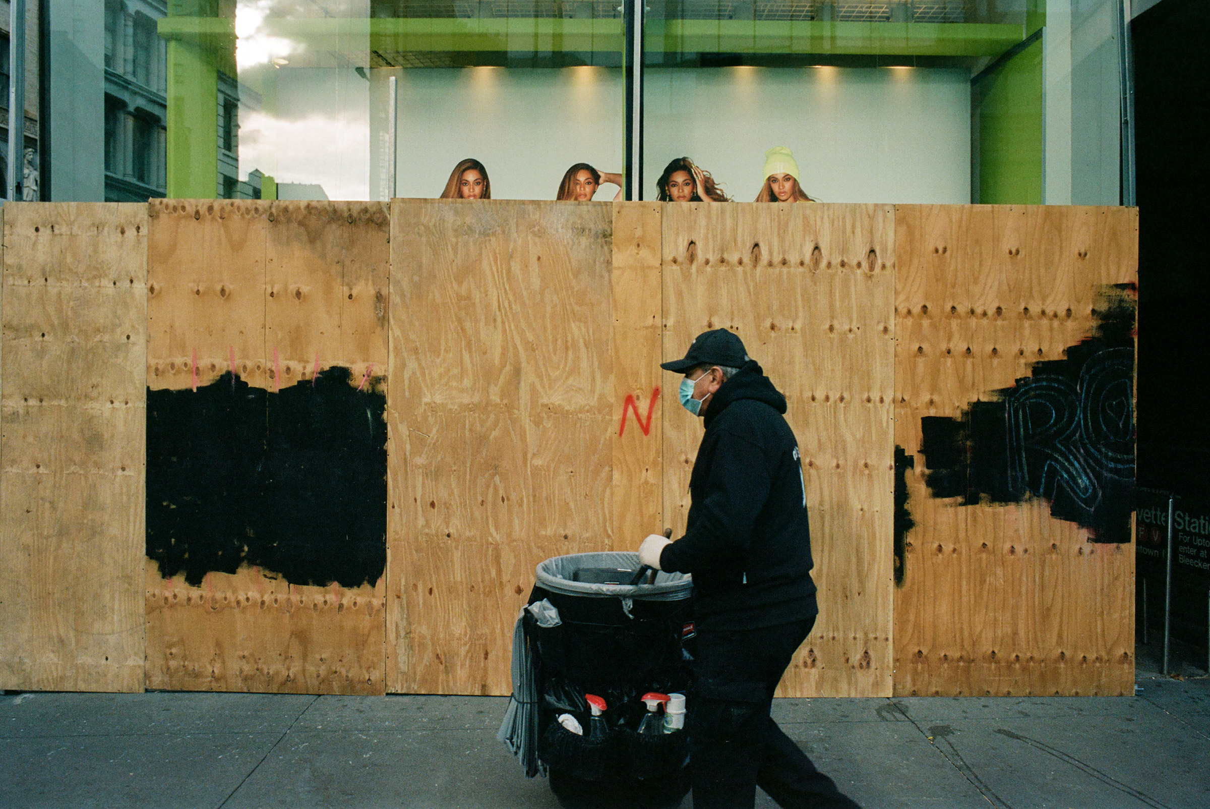 Plywood sprung up around shuttered business and storefront windows Nov. 4, 2020.