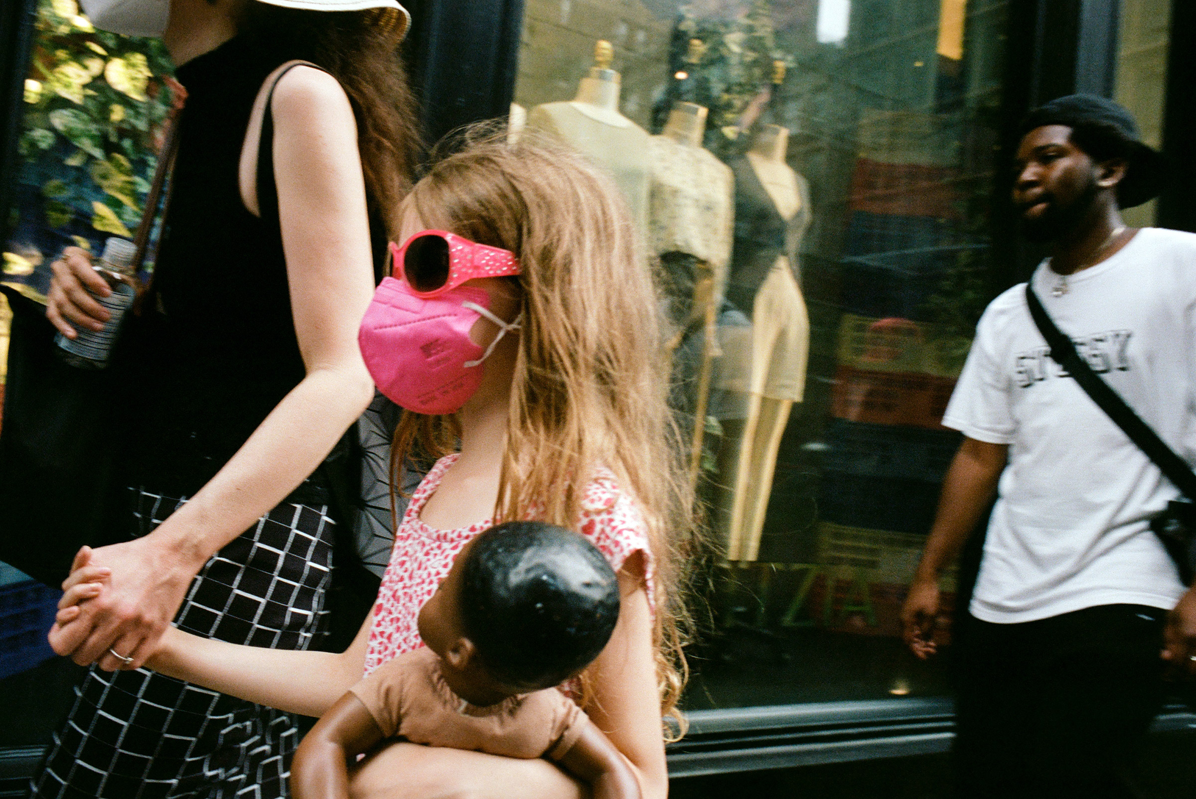 Soho shoppers in masks, Aug. 23, 2021.