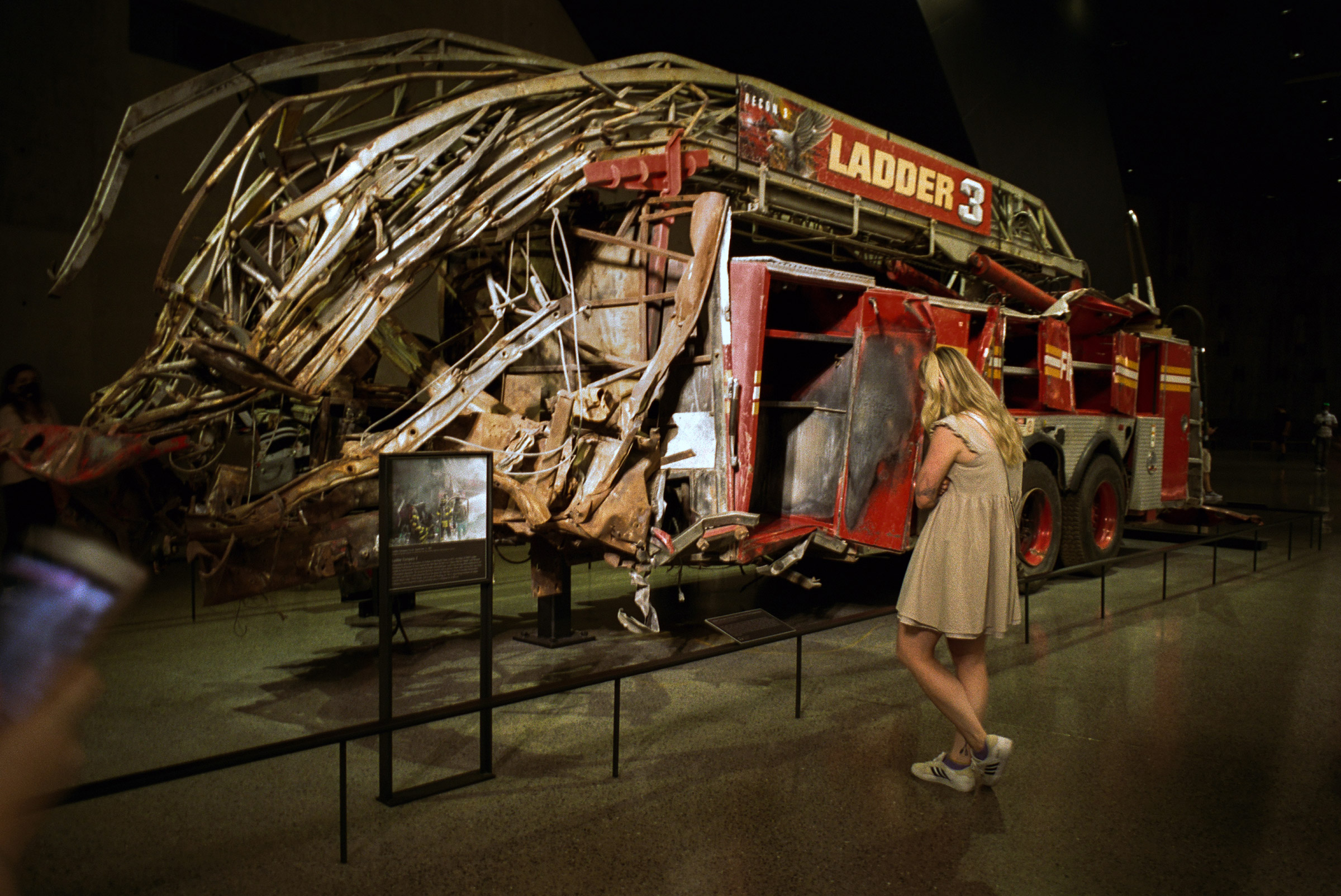 A mangled firetruck at the 9/11 Museum, Sept. 5, 2021.