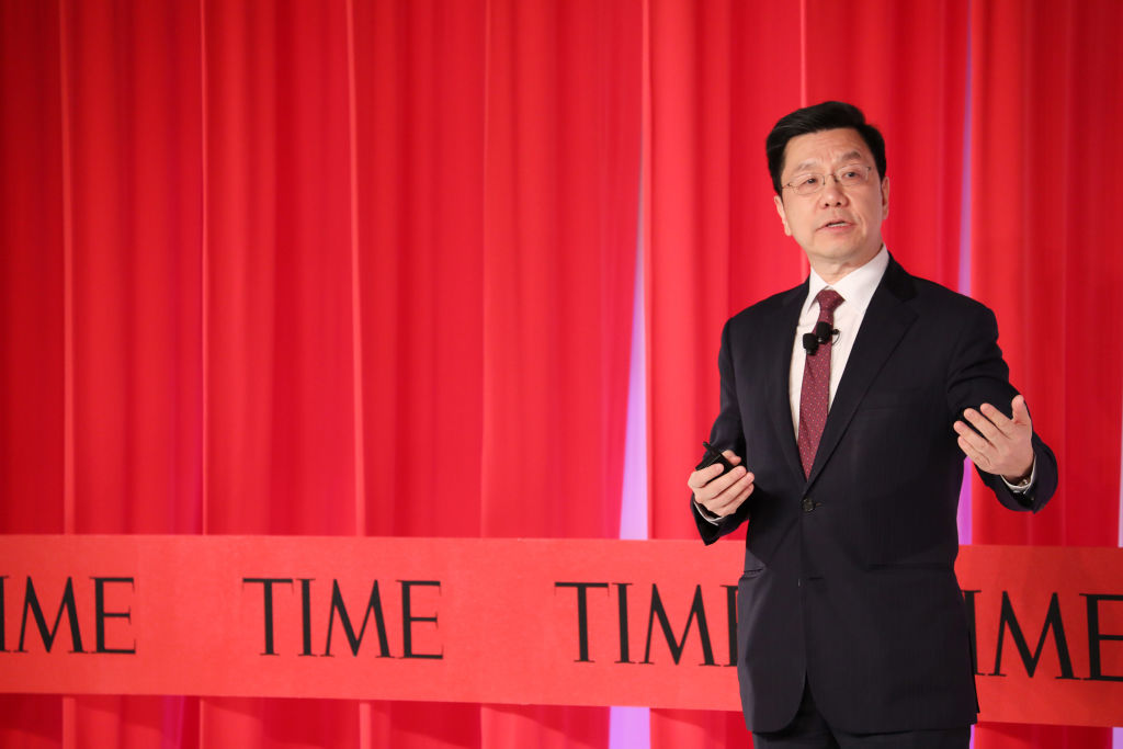 NEW YORK, NEW YORK - Kai-Fu Lee gives a talk during the TIME 100 Summit 2019 on April 23, 2019 in New York City.