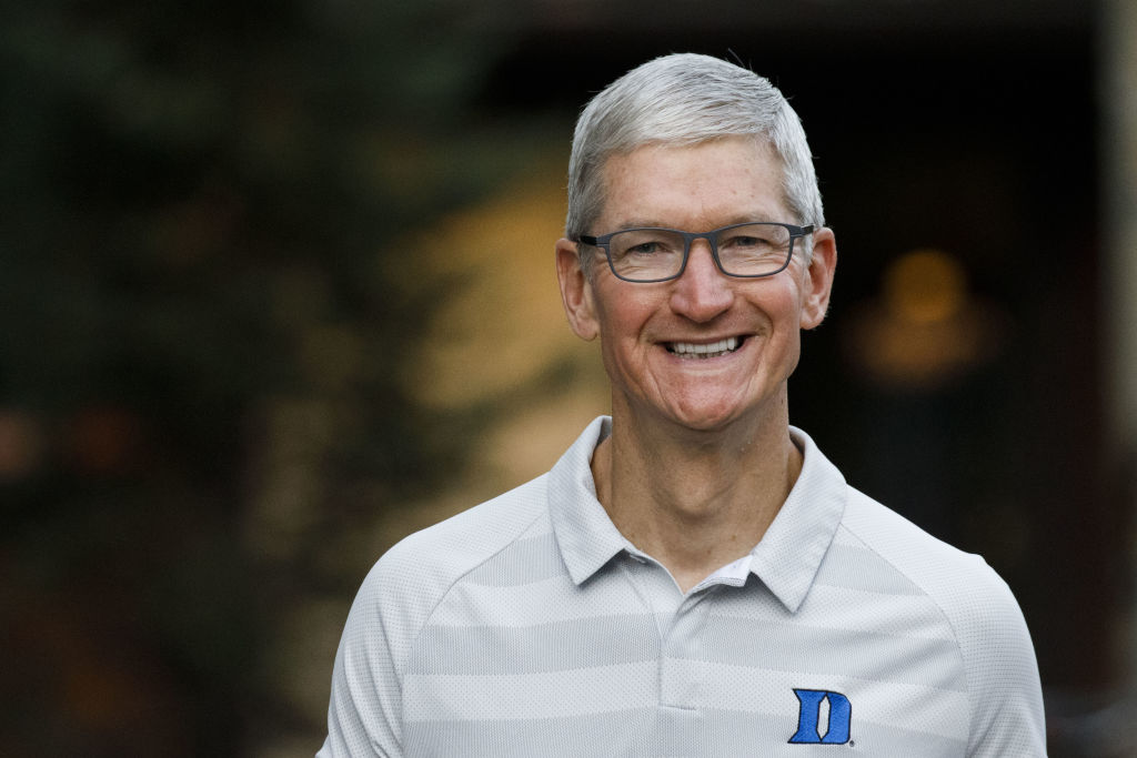 Tim Cook, chief executive officer of Apple Inc., arrives for the morning session of the Allen & Co. Media and Technology Conference in Sun Valley, Idaho, on July 12, 2019.