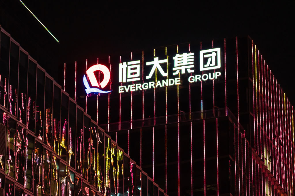 The logo of Chinese property developer Evergrande is seen on top of a skyscraper on Oct. 5, 2019, in Shenzhen, China
