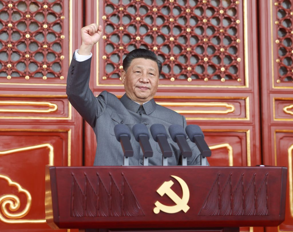 China's President Xi Jinping speaks in Beijing  on July 1, 2021, at a ceremony marking the 100th anniversary of the founding of the Chinese Communist Party