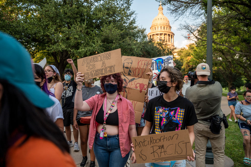 Pro-choice protesters march outside the Texas State Capitol in Austin, Texas, on Sept. 1, 2021.