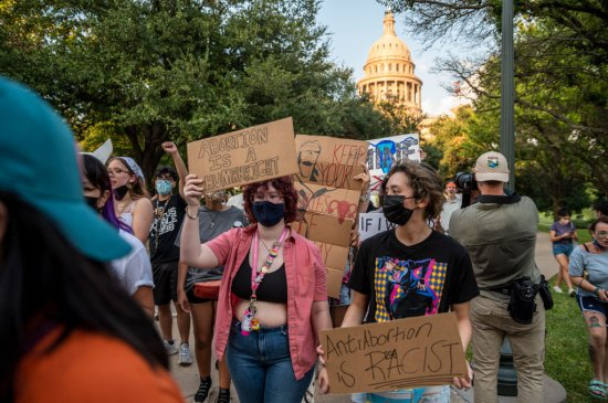AUSTIN, TX - SEPT 1: Pro-choice protesters march outside the Te