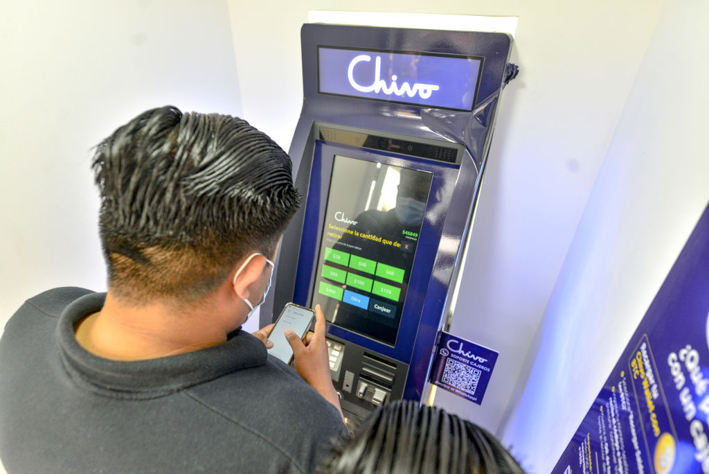A customer uses a Chivo Bitcoin automated teller machine in San Salvador, El Salvador, on Tuesday, Sept. 7, 2021.