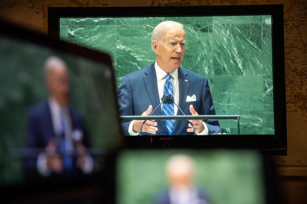U.S. President Joe Biden speaks during the United Nations General Assembly via live stream in New York, U.S., on Tuesday, Sept. 21, 2021