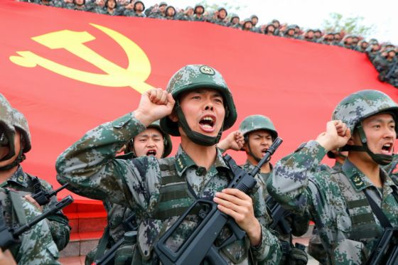 Soldiers Review The Oath Of Joining The CPC
