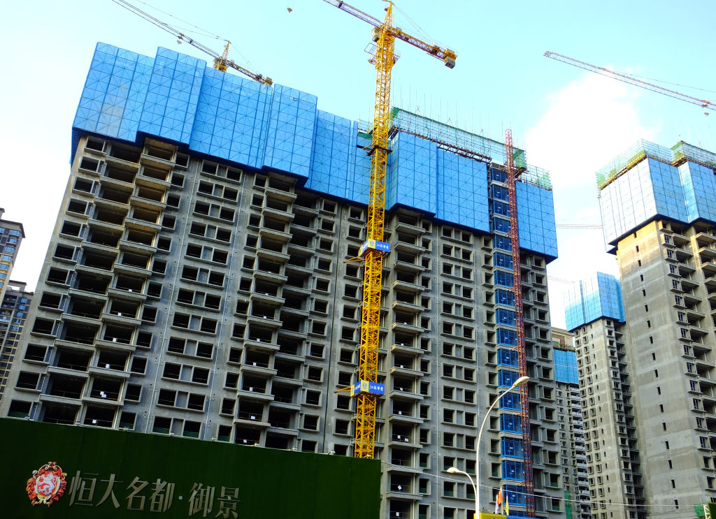 YICHANG, CHINA - SEPTEMBER 14: The construction site of an Evergrande housing complex is pictured on September 14, 2021 in Yichang, Hubei Province, China.