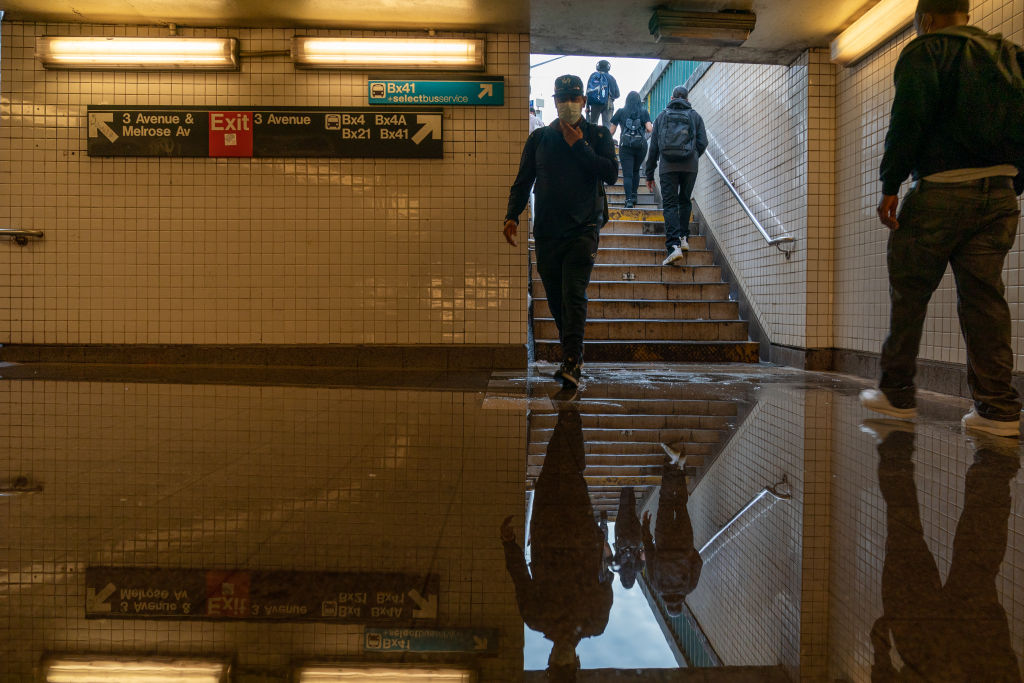 A flooded subway station in the Bronx in New York City, where service was disrupted due to extremely heavy rainfall from the remnants of Hurricane Ida on Sept. 2, 2021.