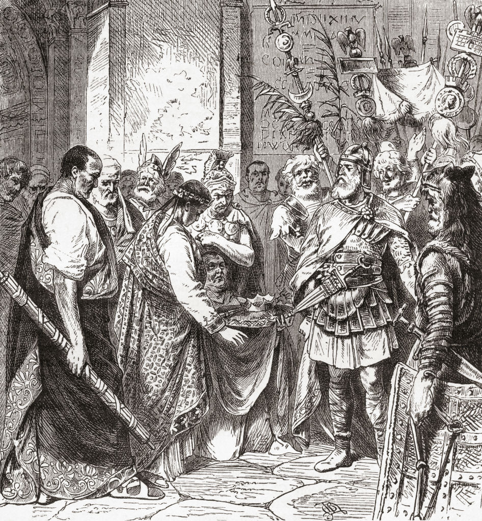 Odoacer forces Romulus Augustus to resign in 476 AD.
