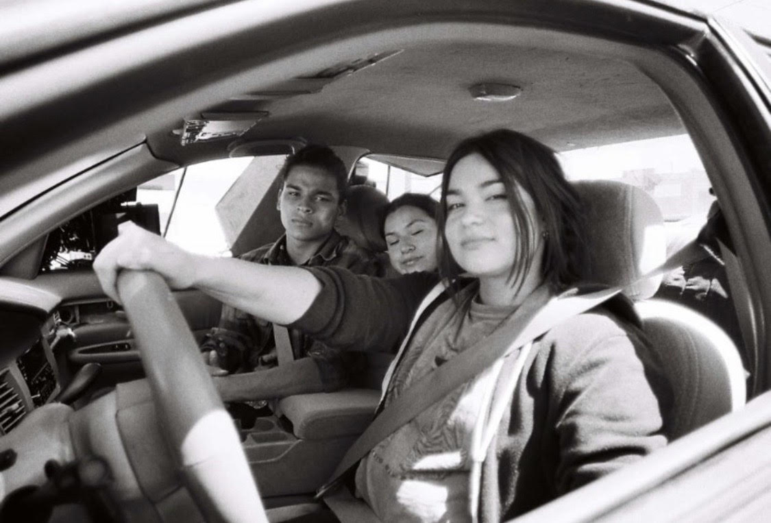 From left to right, D'Pharaoh Woon-a-tai, Paulina Alexis and Devery Jacobs in a behind-the-scenes photo from the filming of 'Reservation Dogs'