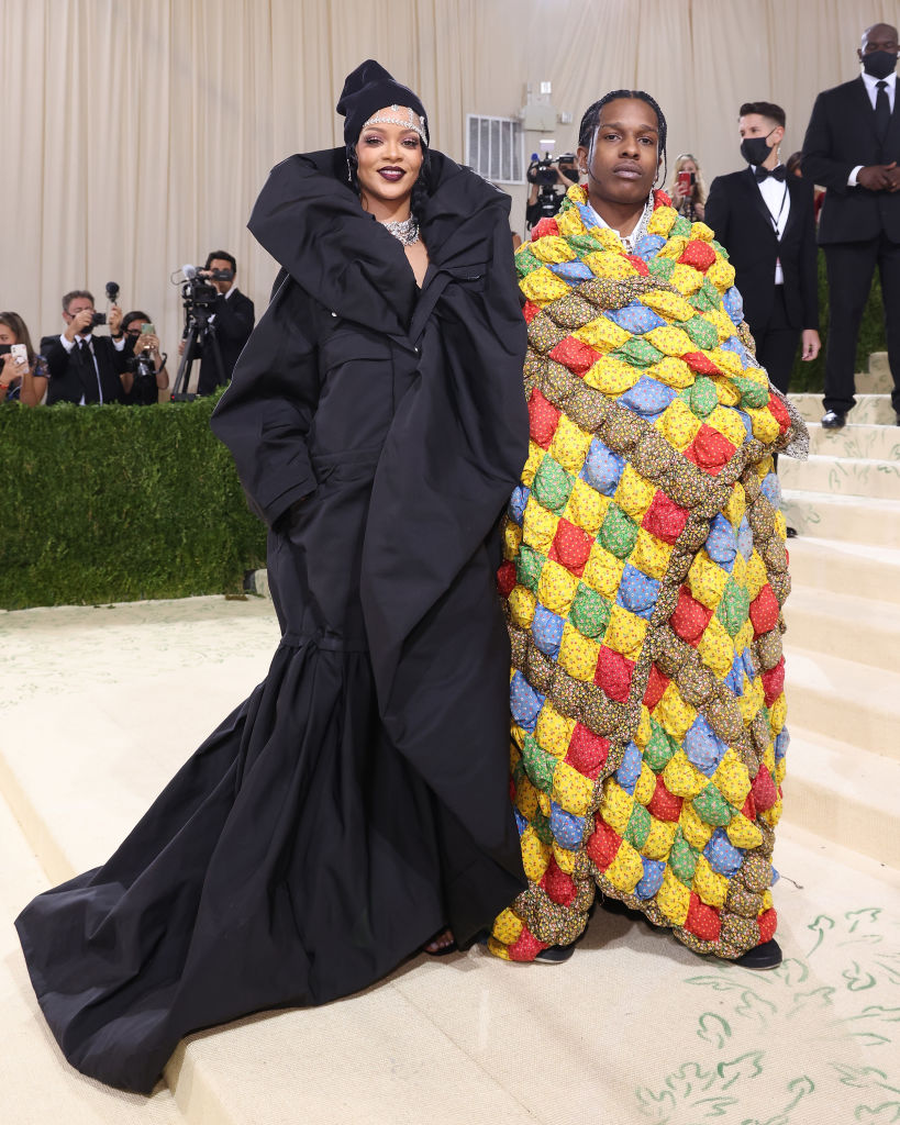 Rihanna and ASAP Rocky attend the 2021 Met Gala benefit  In America: A Lexicon of Fashion  at Metropolitan Museum of Art on Sept. 13, 2021 in New York City.