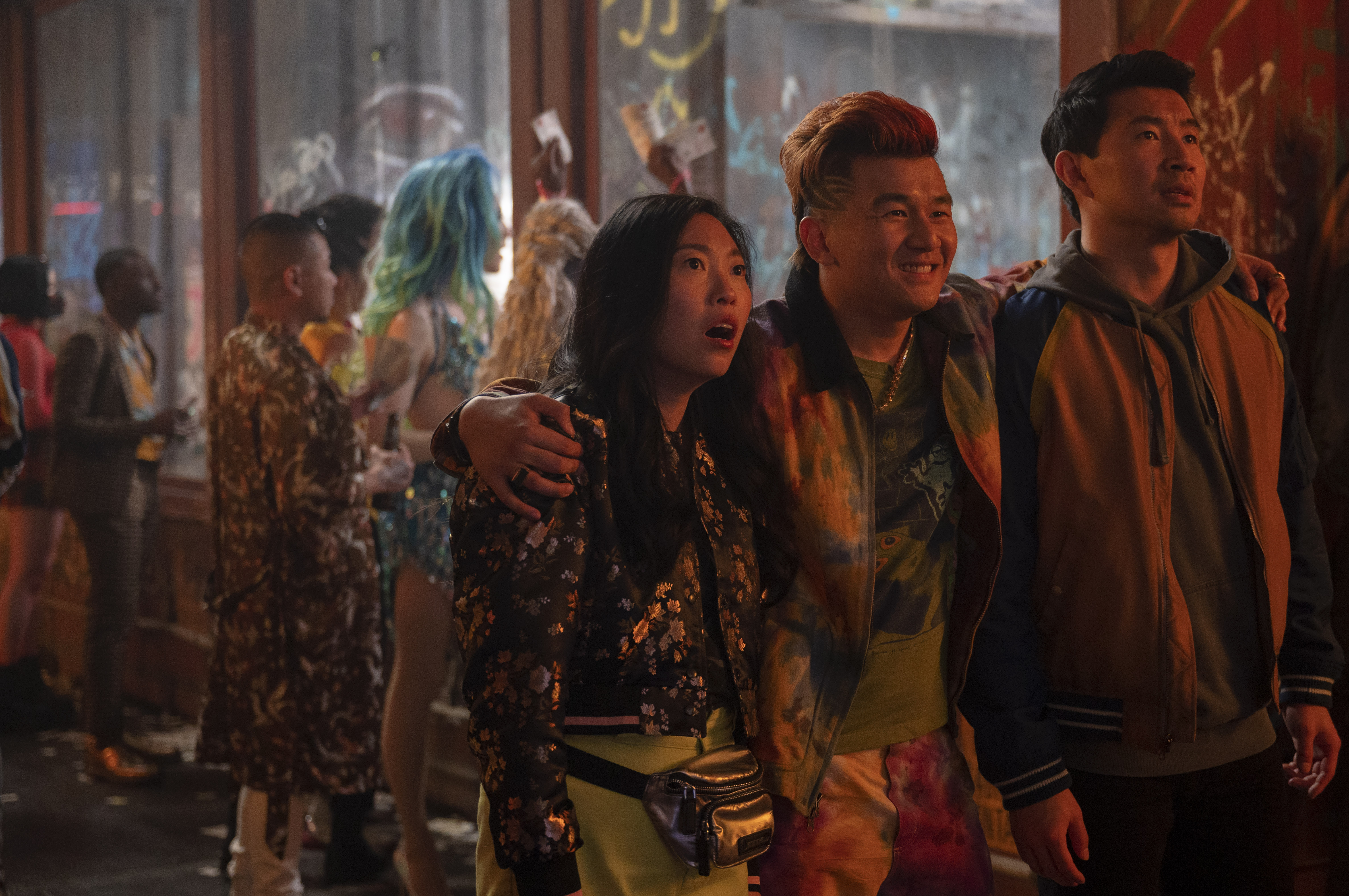 From left: Awkwafina as Katy, Ronny Chieng as Jon Jon and Simu Liu as Shang-Chi in Shang-Chi and the Legend of the Ten Rings.