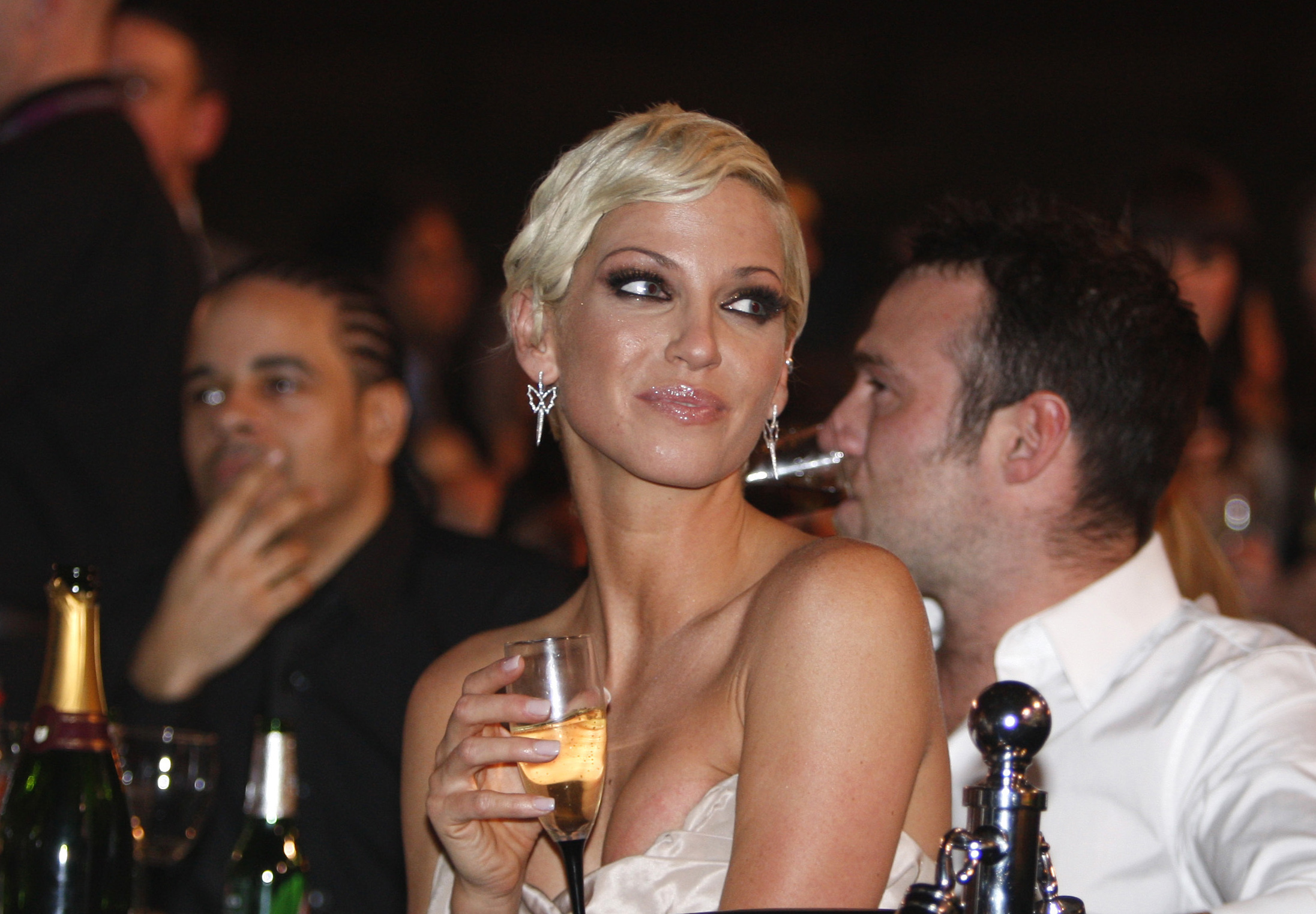Singer Sarah Harding from British band Girls Aloud, attends the Brit Awards 2009 ceremony at Earls Court exhibition centre in London, England, on Feb. 18, 2009.