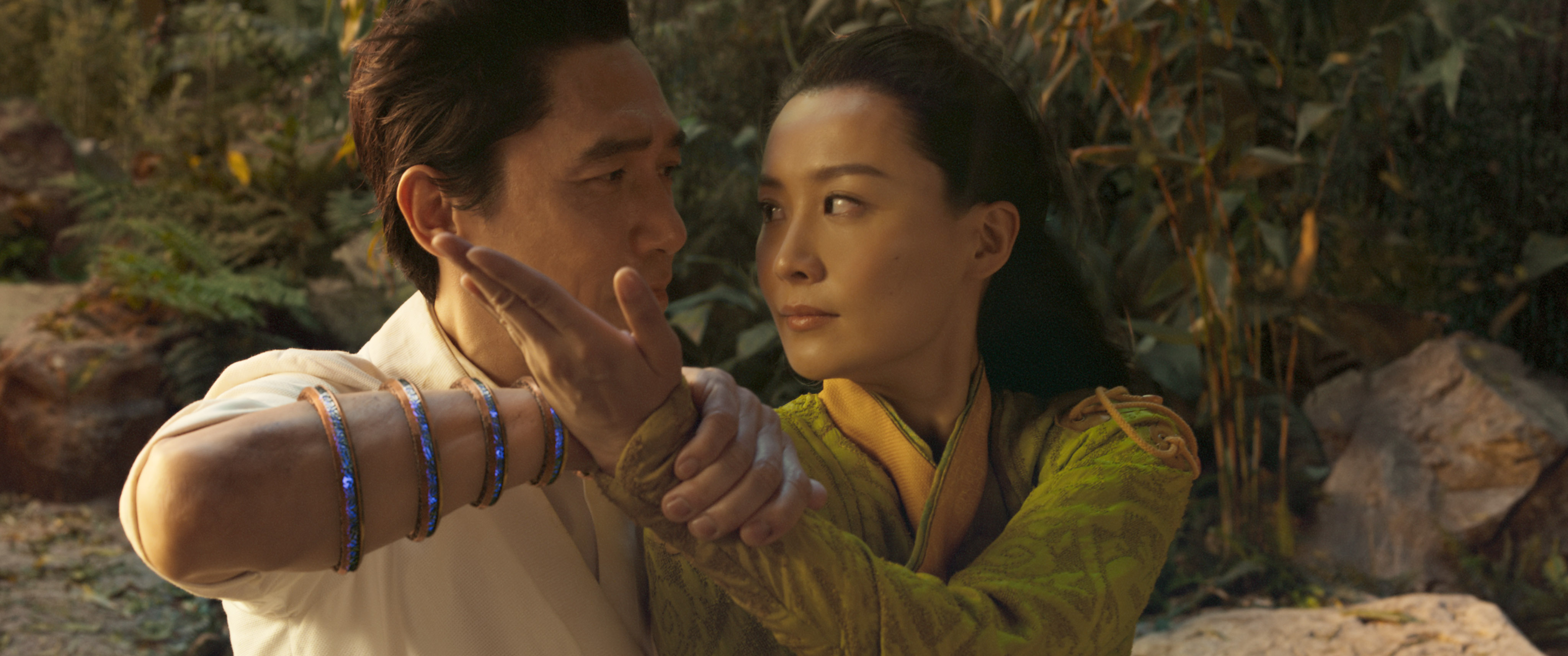 Tony Leung, left, as Wenwu and Fala Chen as Jiang Li in Shang-Chi and the Legend of the Ten Rings.