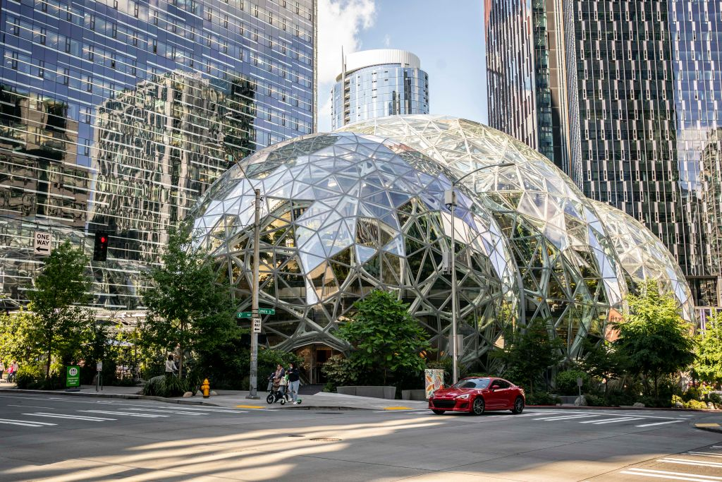 The exterior of The Spheres are seen at the Amazon headquarters on May 20, 2021 in Seattle, Washington.
